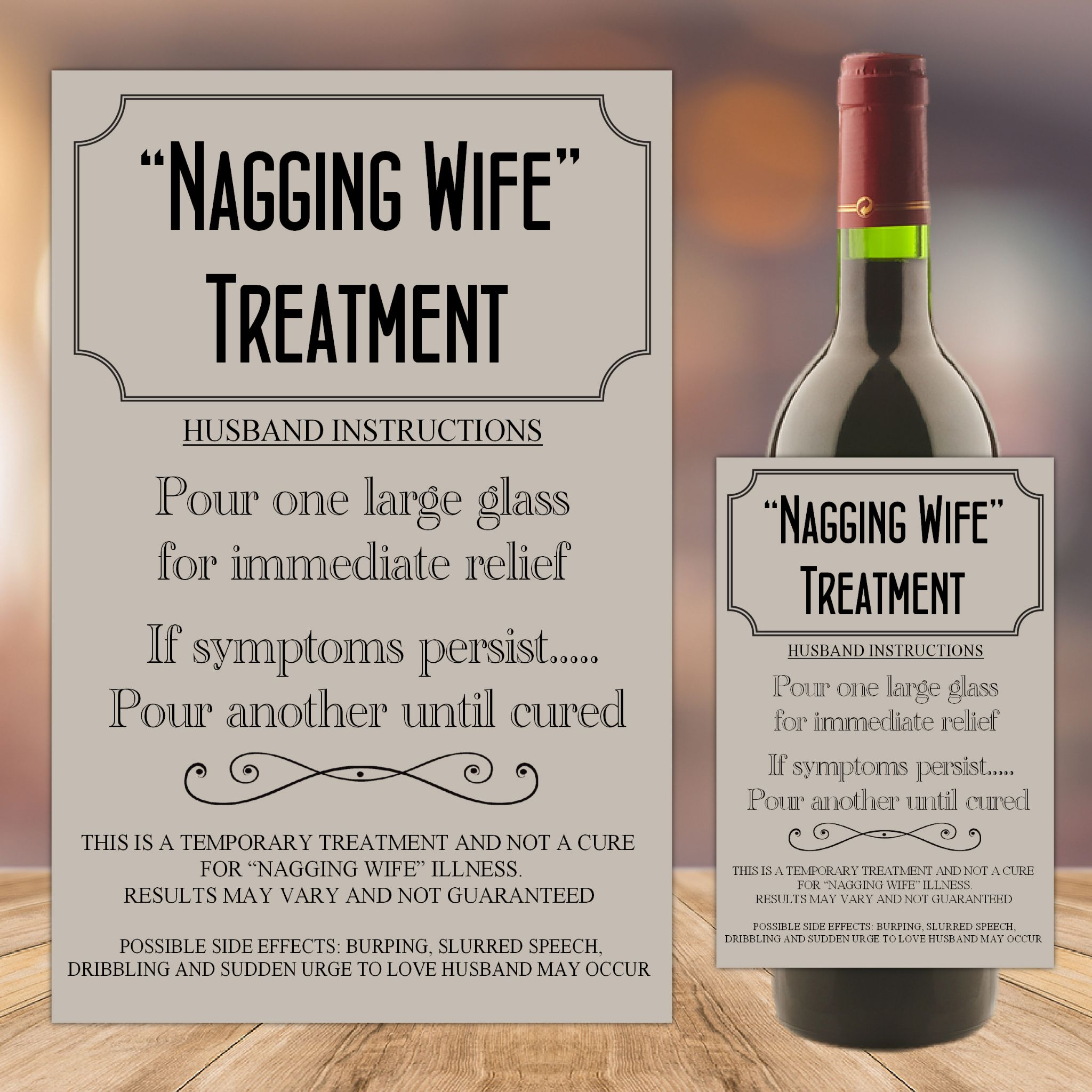 Nagging Wife Treatment Cure Joke Humour Wine Champagne
