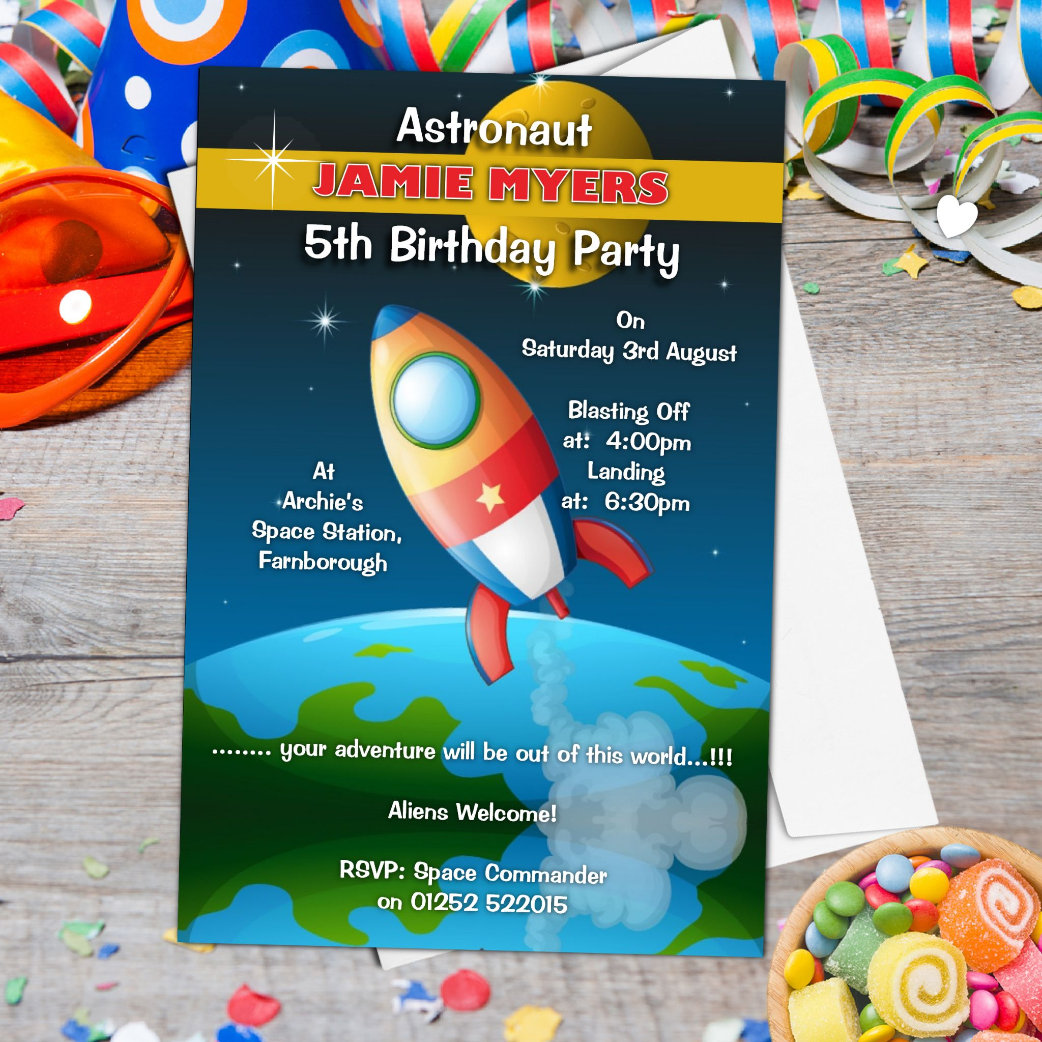 10 Personalised Astronaut Space Birthday Party Invitations ...