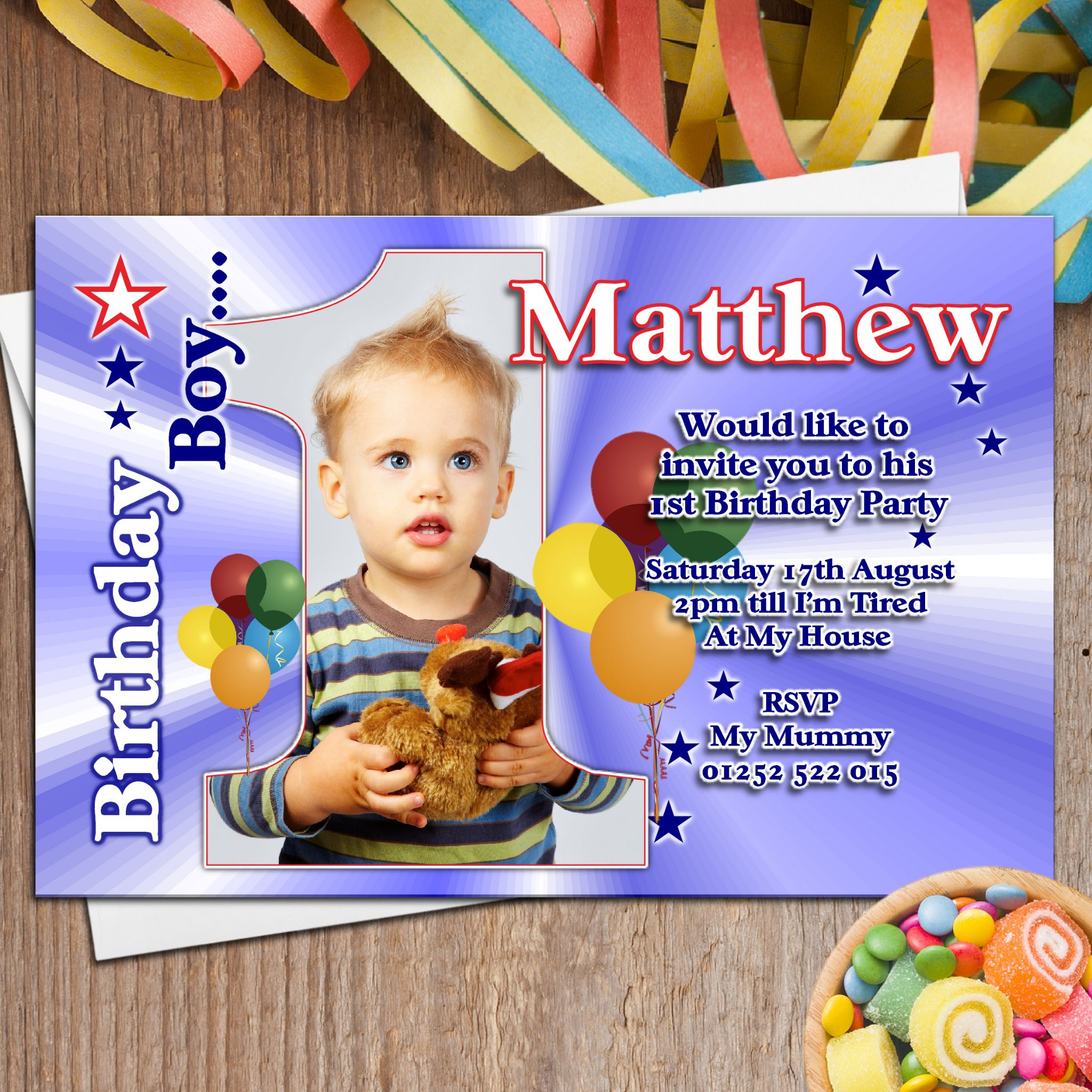 10 Personalised Boys First 1st Birthday Party PHOTO ...