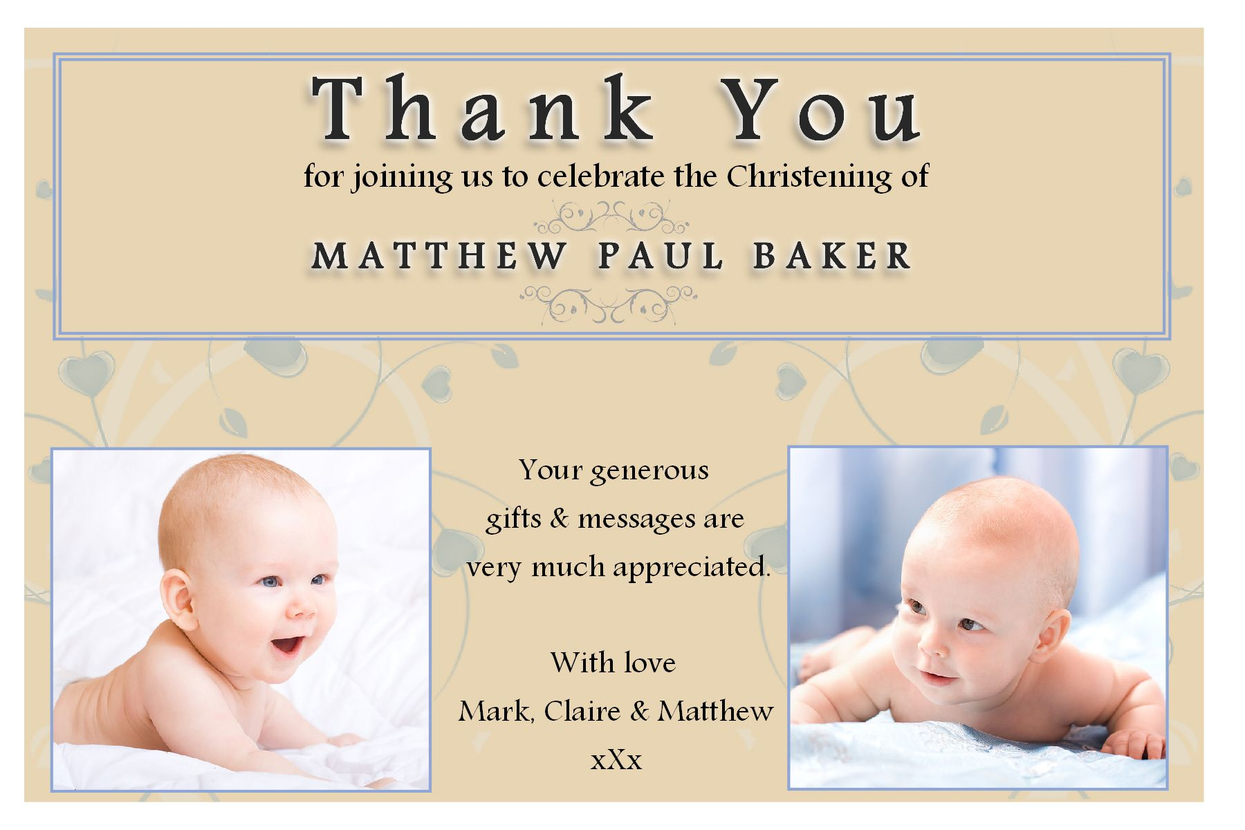 10 personalised christening baptism thankyou photo cards n193 for Baptism thank you card template