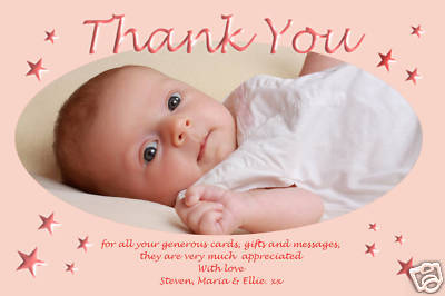 Personalised Christening thank you cards / personalised baptism ...
