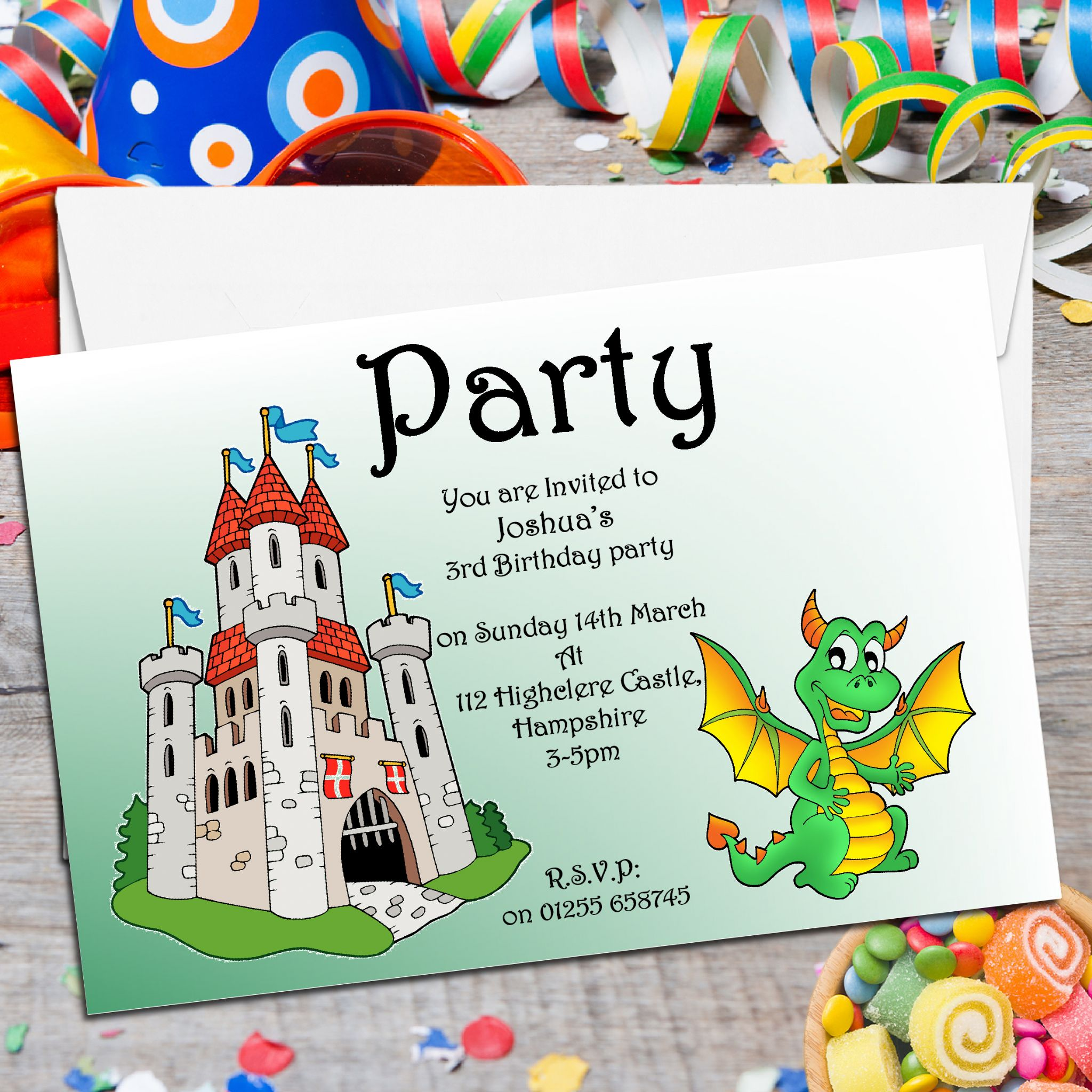 10 Personalised Dragon Castle Party Invitations The – Cheap Personalised Party Invitations