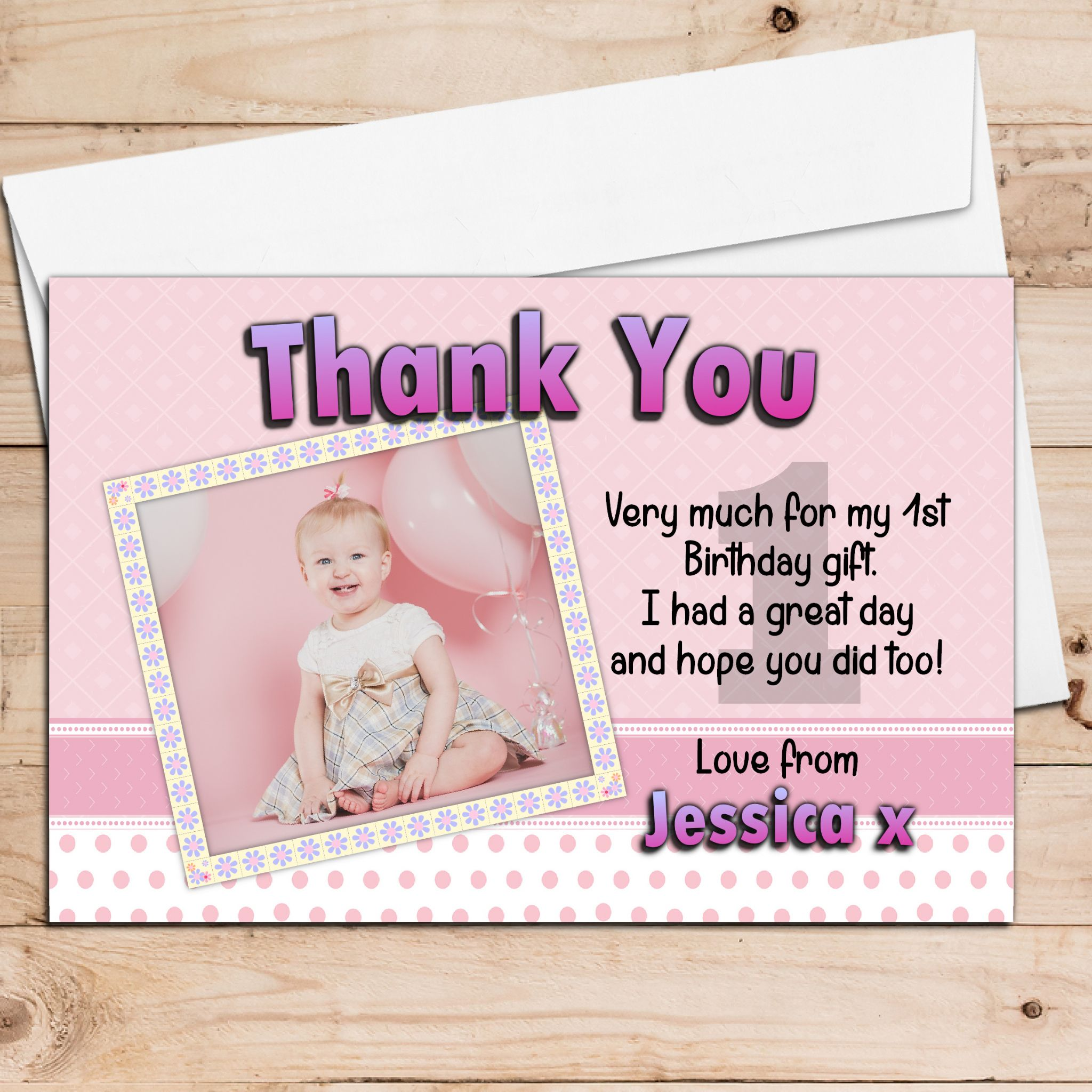 10 personalised girls birthday party photo thank you cards
