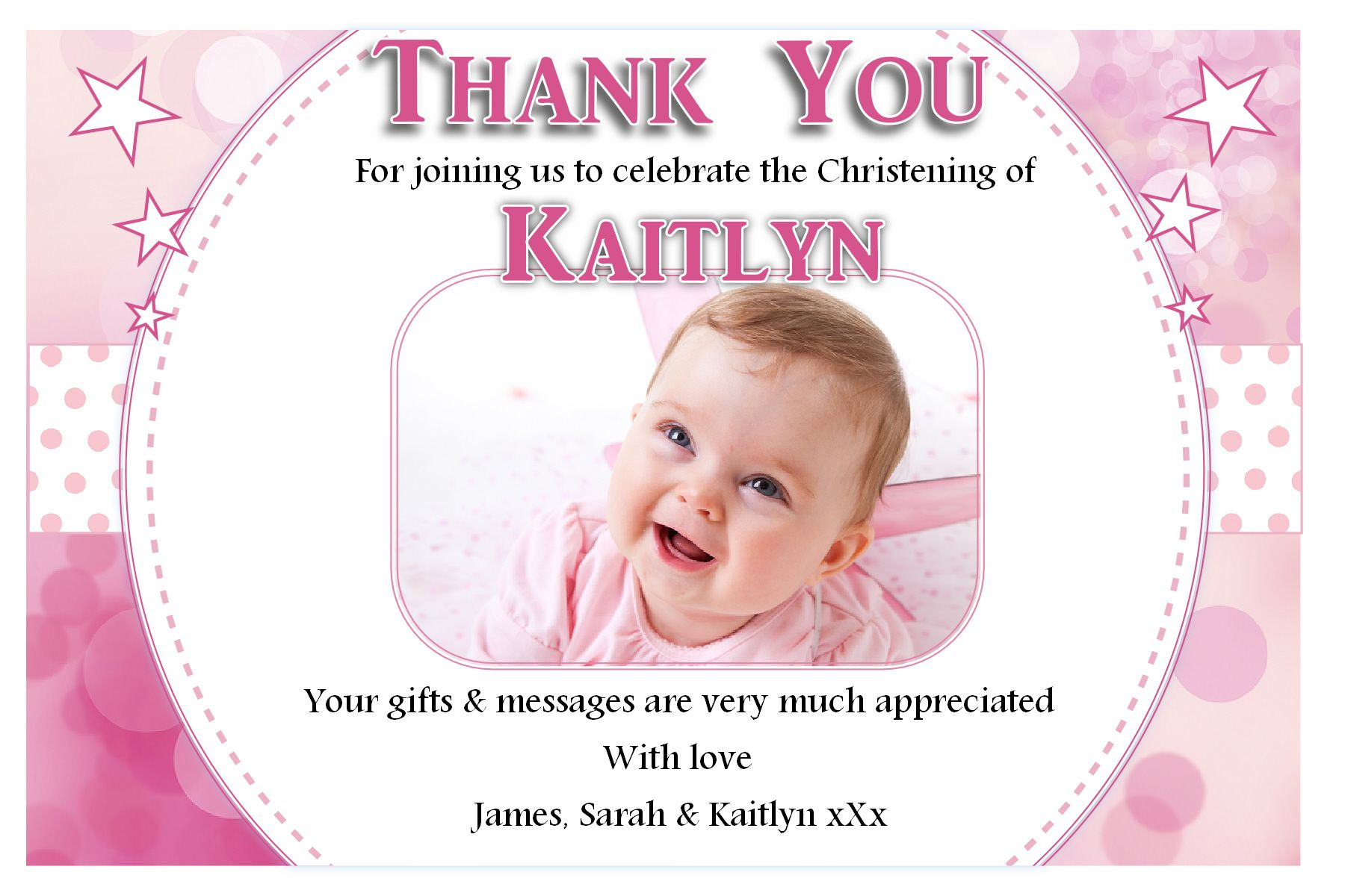 What to write on a christening invite together with girl baptism thank