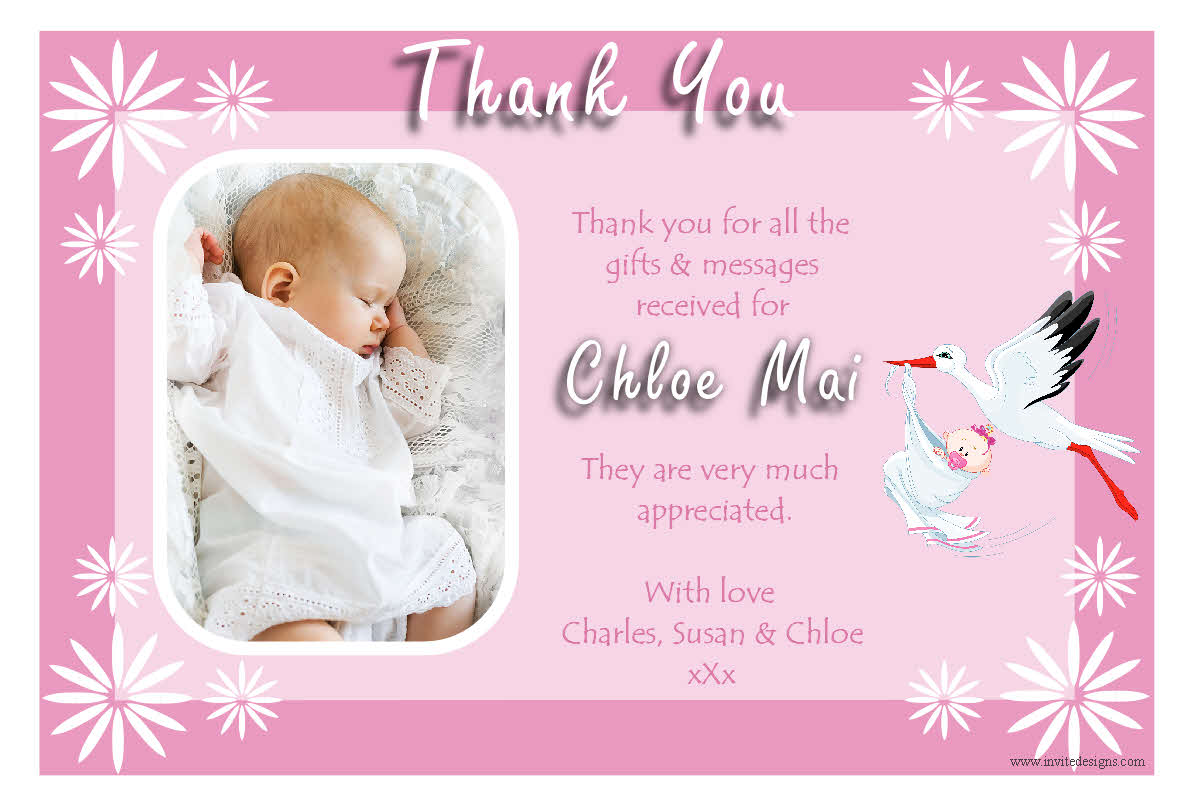 New Baby Gift Thank You Cards : Personalised girls stork baby birth thank you photo