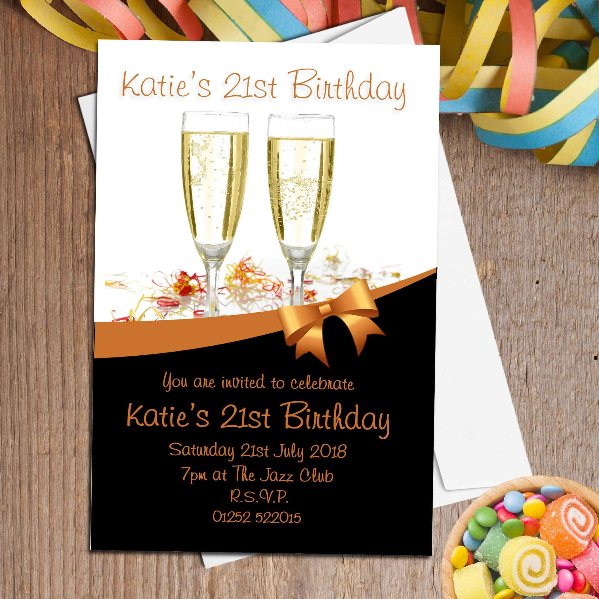 10 Personalised Gold Champagne Party Invitations N92