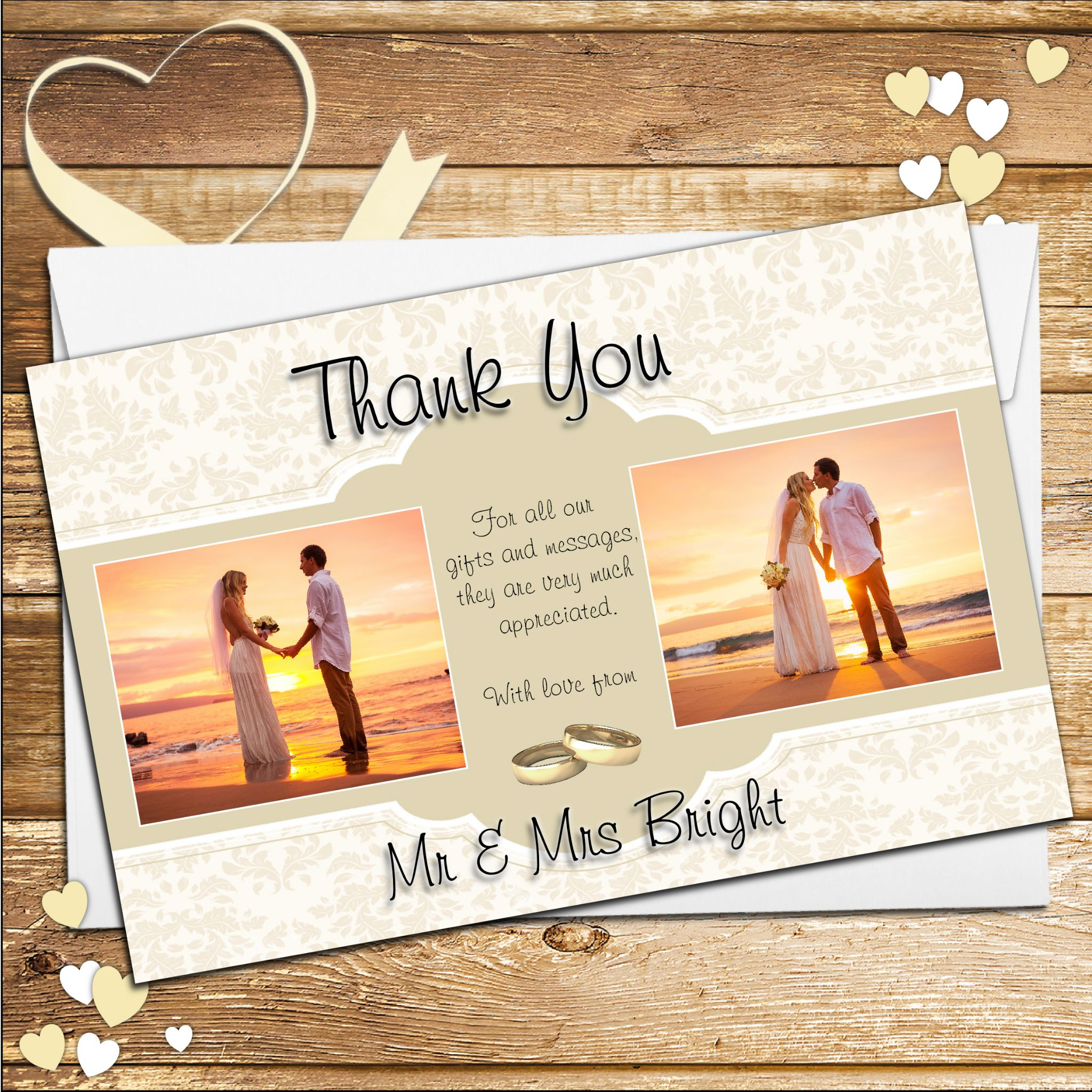 10 personalised gold frames wedding thank you photo cards n206