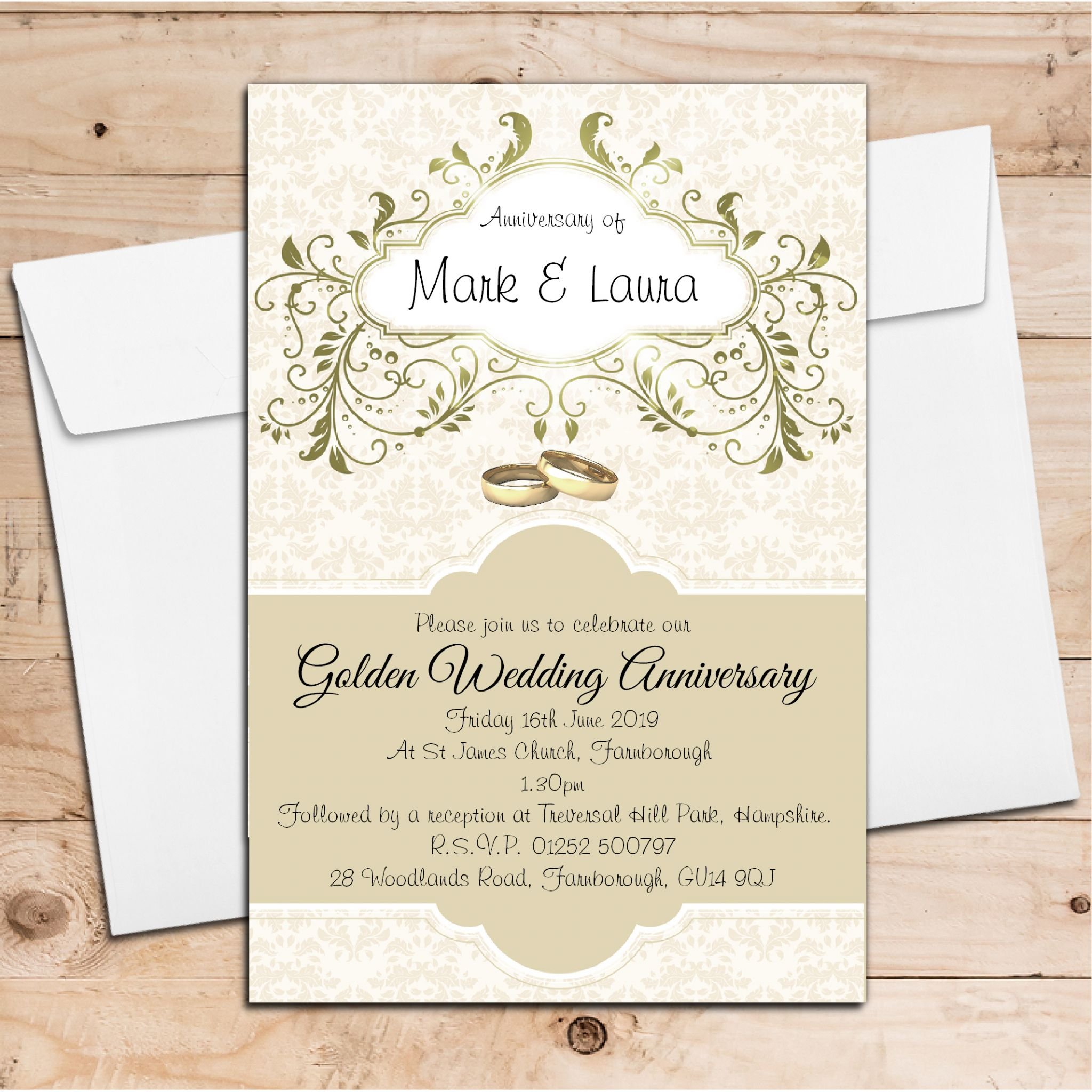 Golden Wedding Anniversary Invitations Wording: 10 Personalised Golden Wedding Anniversary Invitations N13