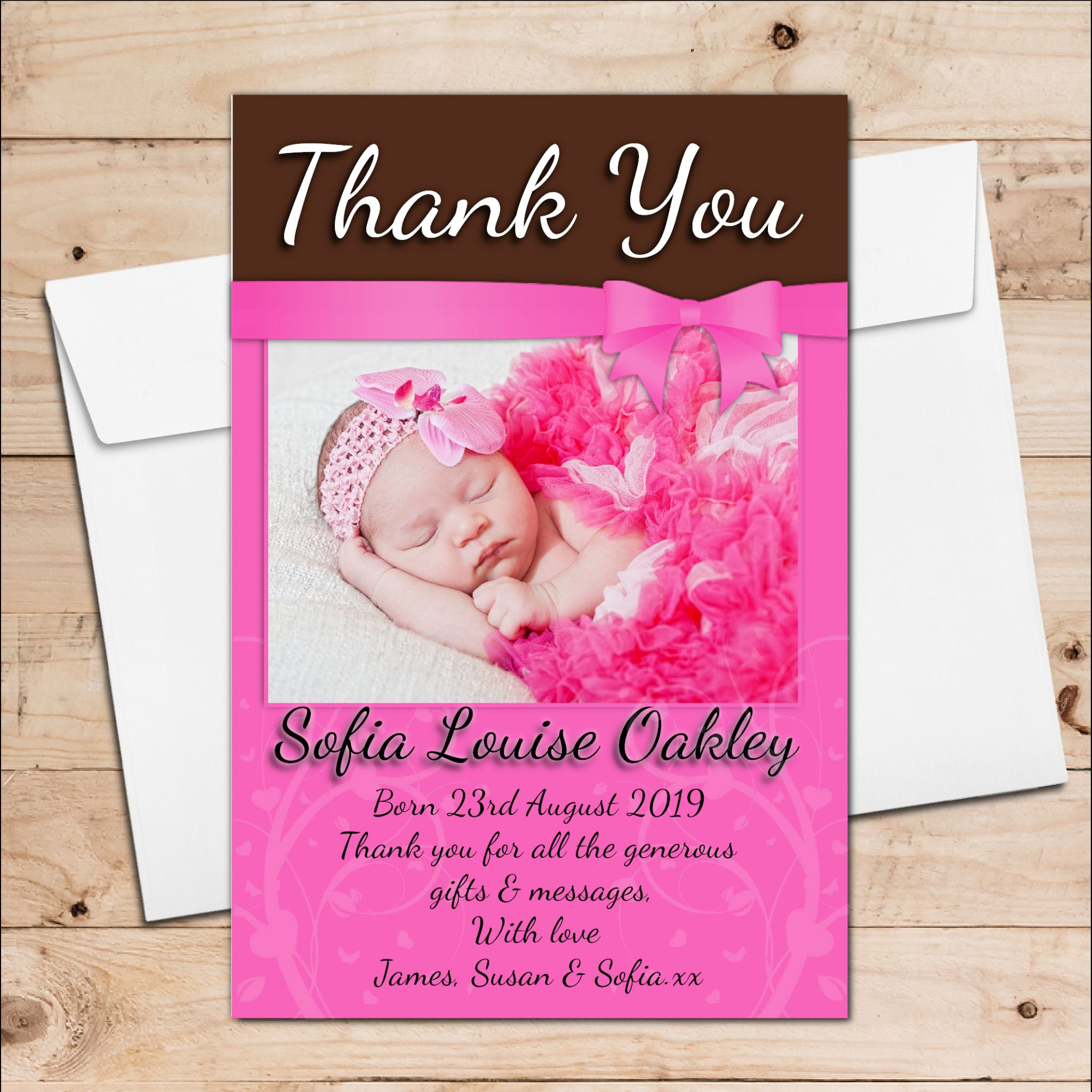 10 personalised new baby girl birth announcement thank you