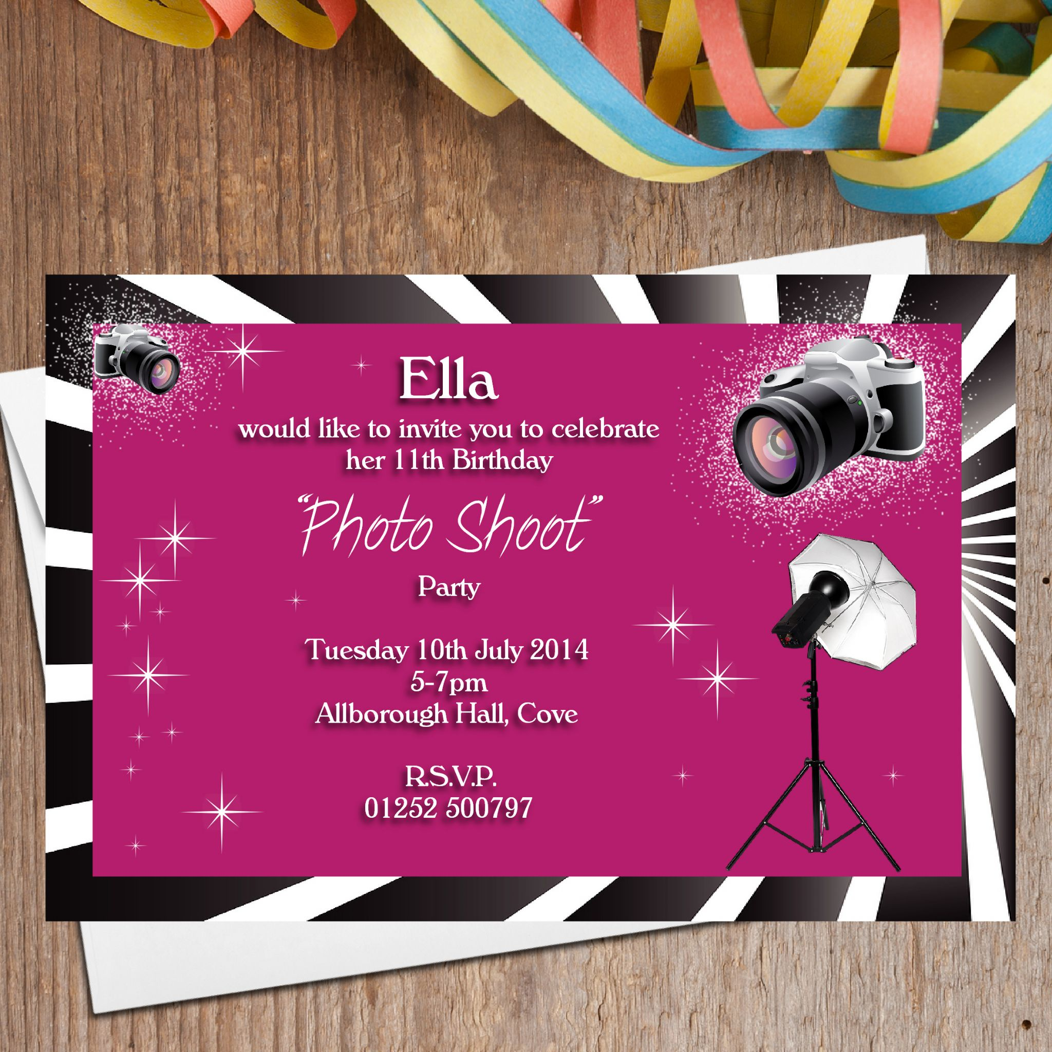 10 Personalised Photo Shoot Birthday Party Invitations N109