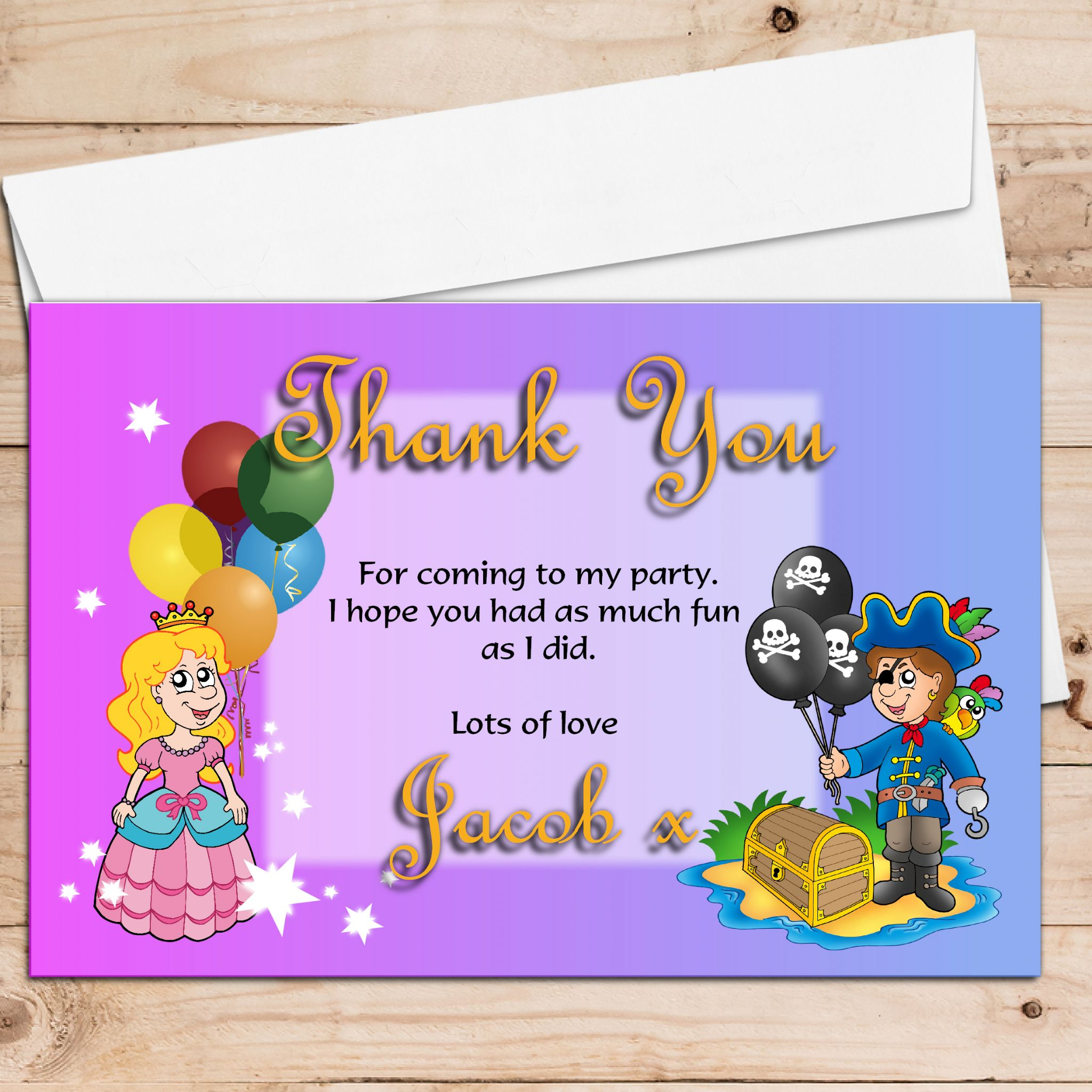 personalised pirate and princess birthday party thank you cards, Birthday card