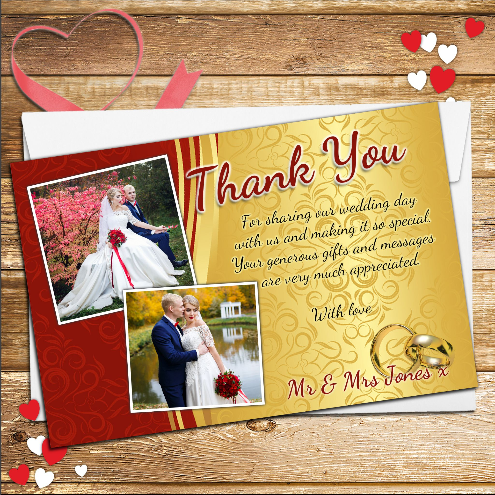 10 Personalised Red & Gold Wedding Day Thank You Photo