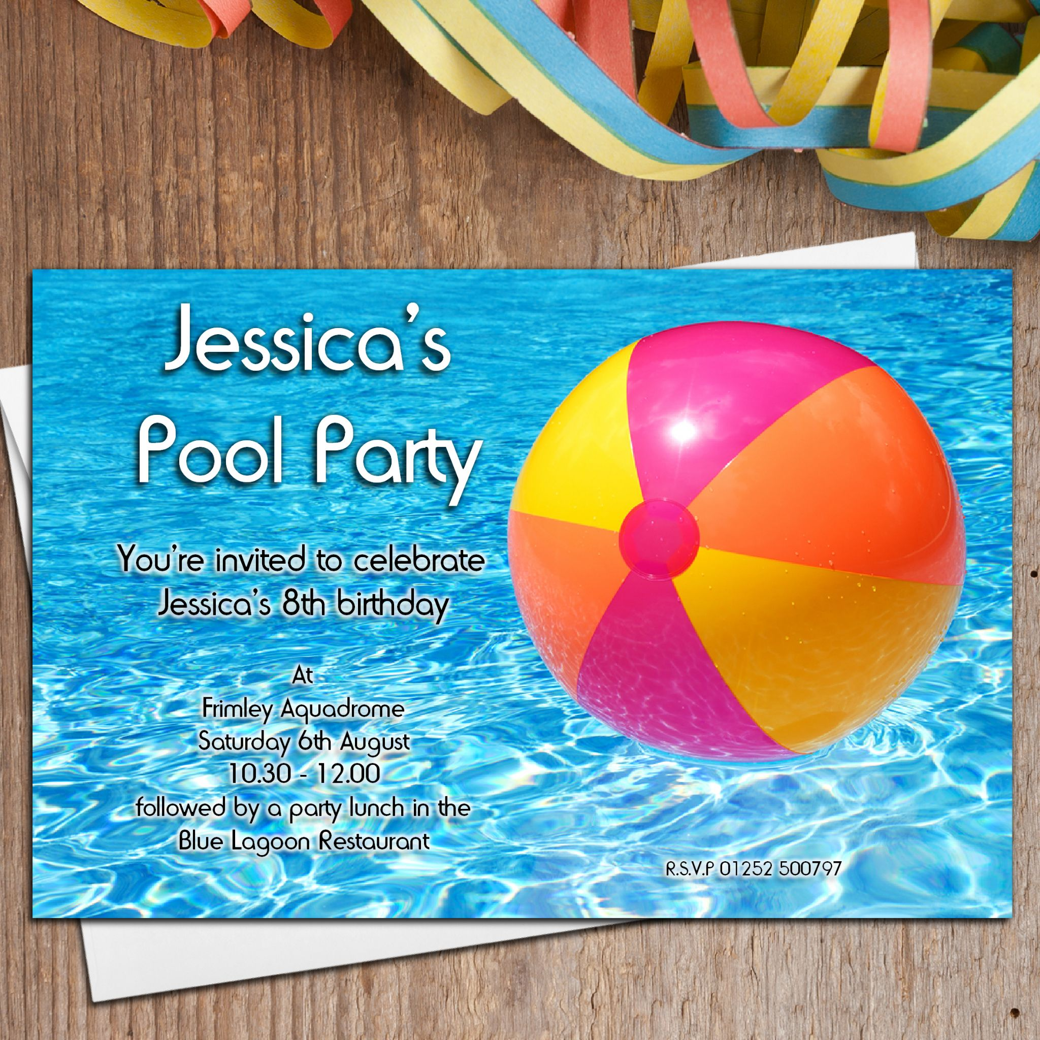 10 Personalised Swimming Pool Birthday Party Invitations N16