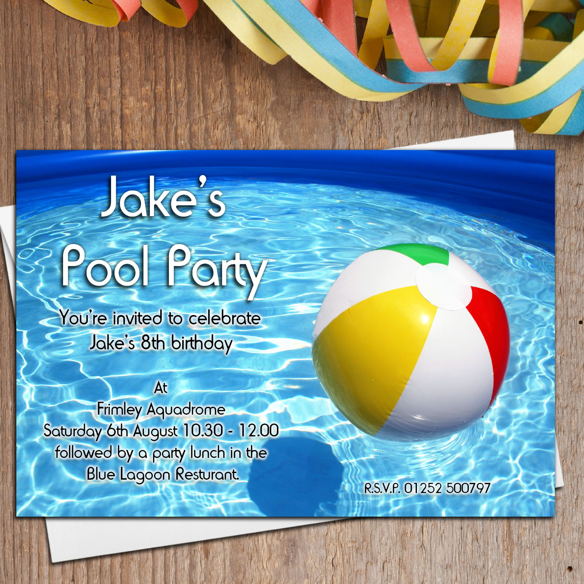 10 Personalised Swimming Pool Birthday Party Invitations N17