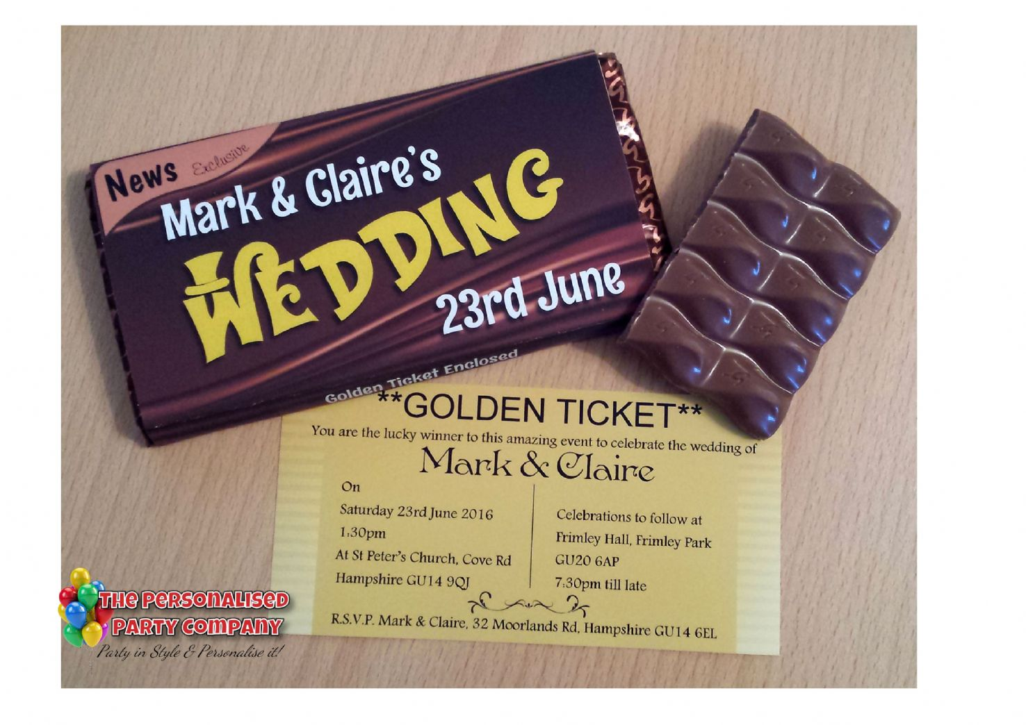 Personalised 114g Galaxy Golden Ticket Chocolate Bar WEDDING ...
