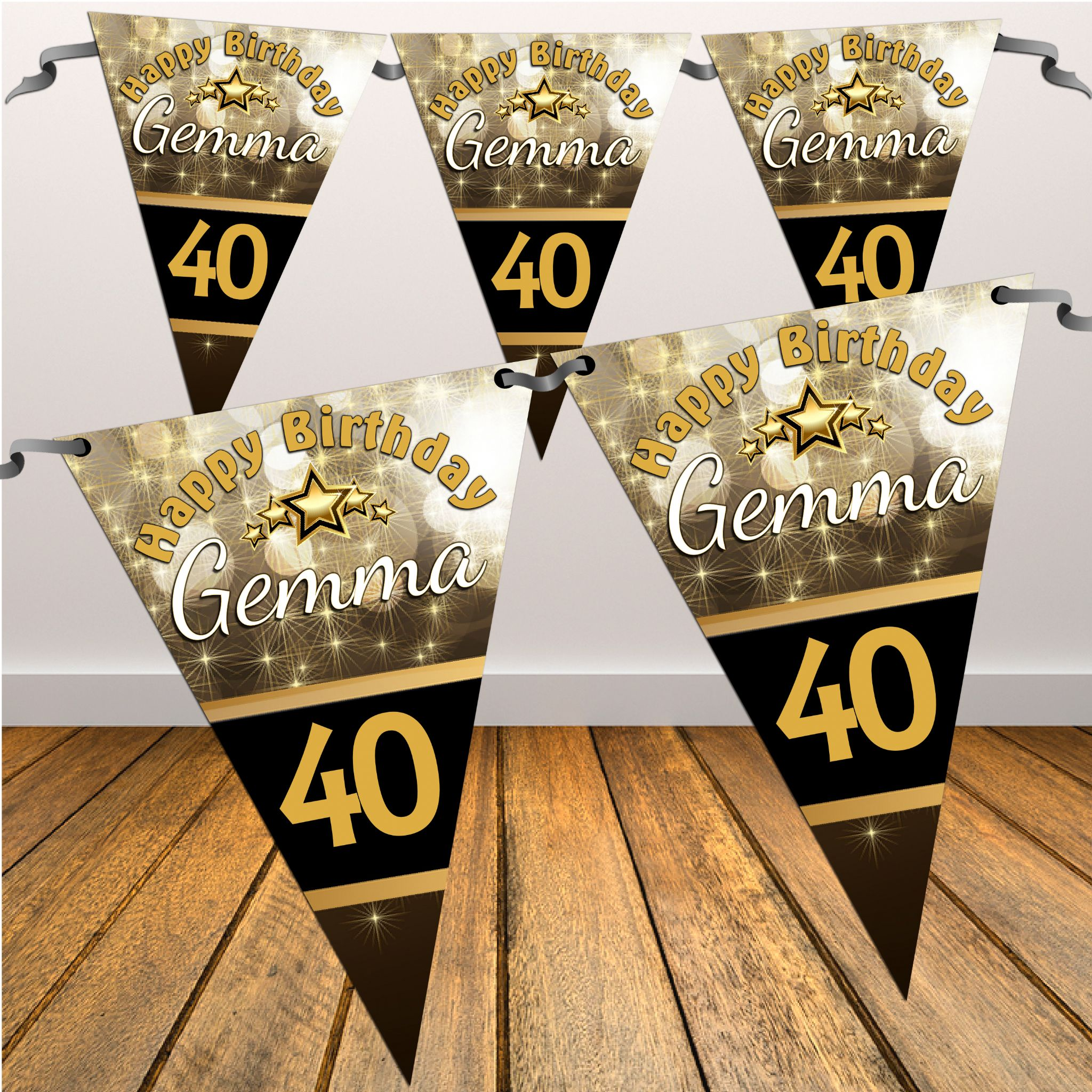 Personalised Black & Gold Sparkle Happy Birthday Flag