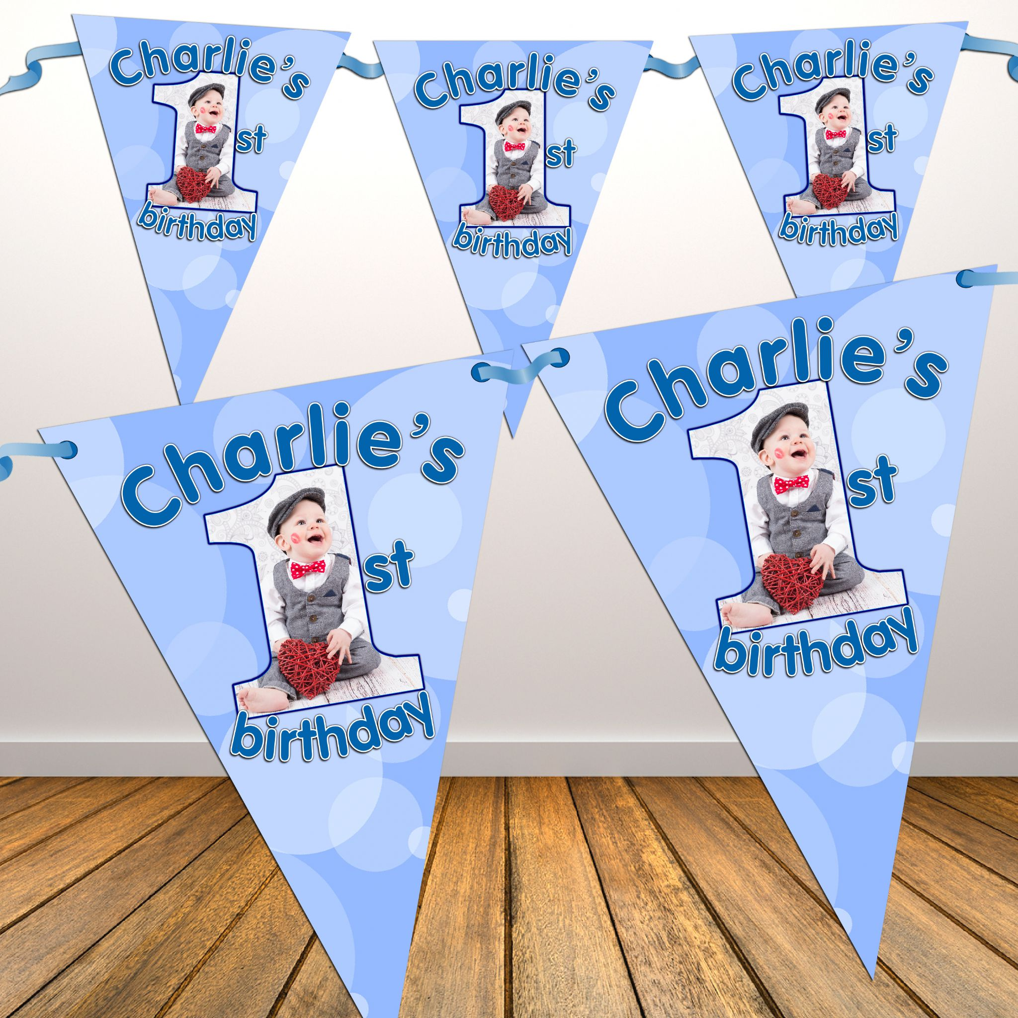 Personalised Boys First 1st Birthday Flag PHOTO Bunting