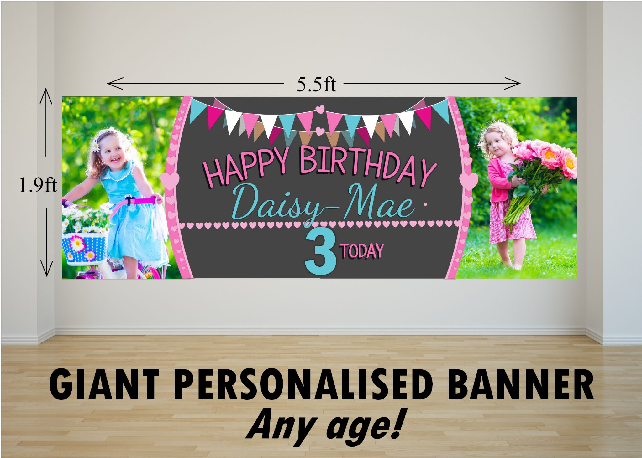 Personalised Giant Large Girls Bunting Amp Balloons Happy