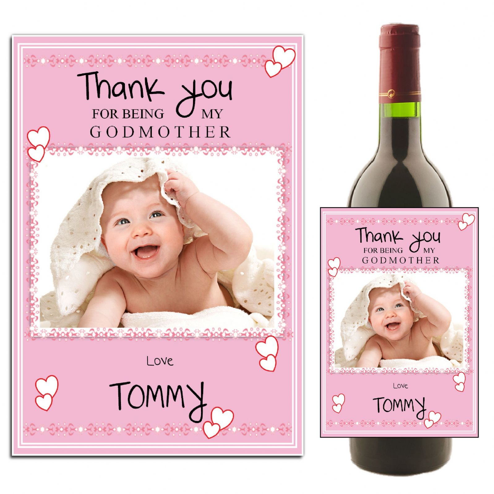 Personalised Godmother Thank You Wine Champagne Bottle