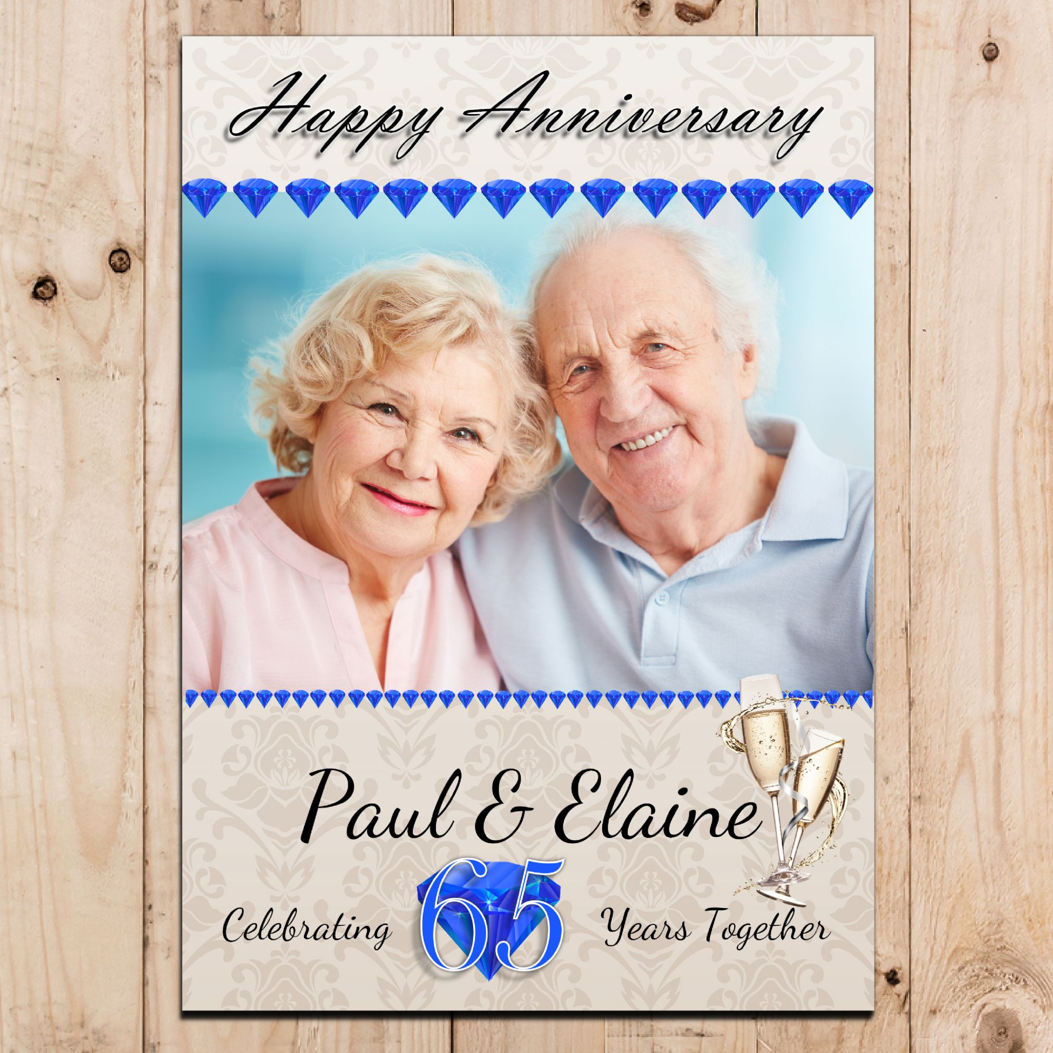 65 Wedding Anniversary Gift: Personalised Sapphire 65th Wedding Anniversary Party PHOTO