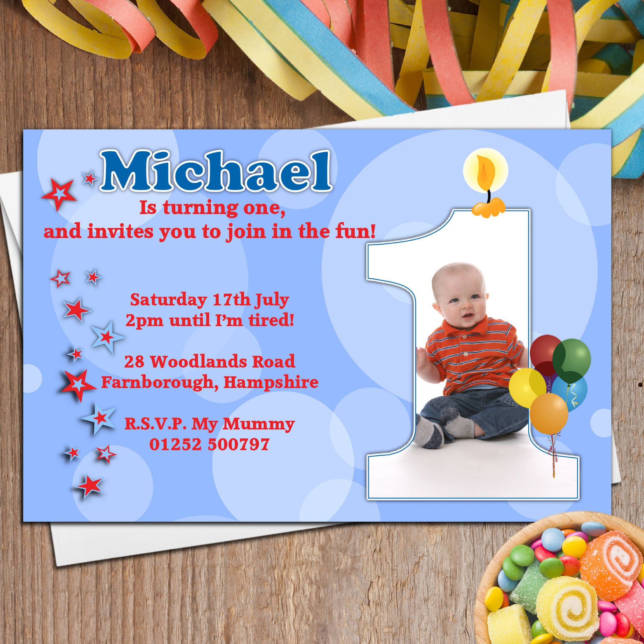 10 boys personalised first 1st birthday party photo invitations n19 filmwisefo Images