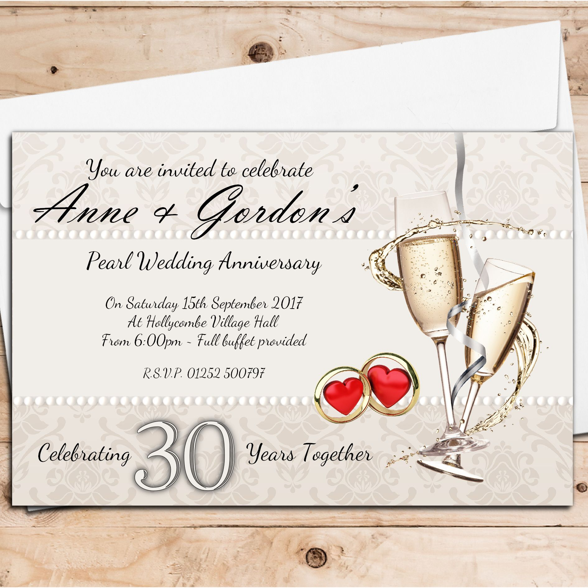 10 personalised 30th pearl wedding anniversary invitations n16 stopboris Gallery