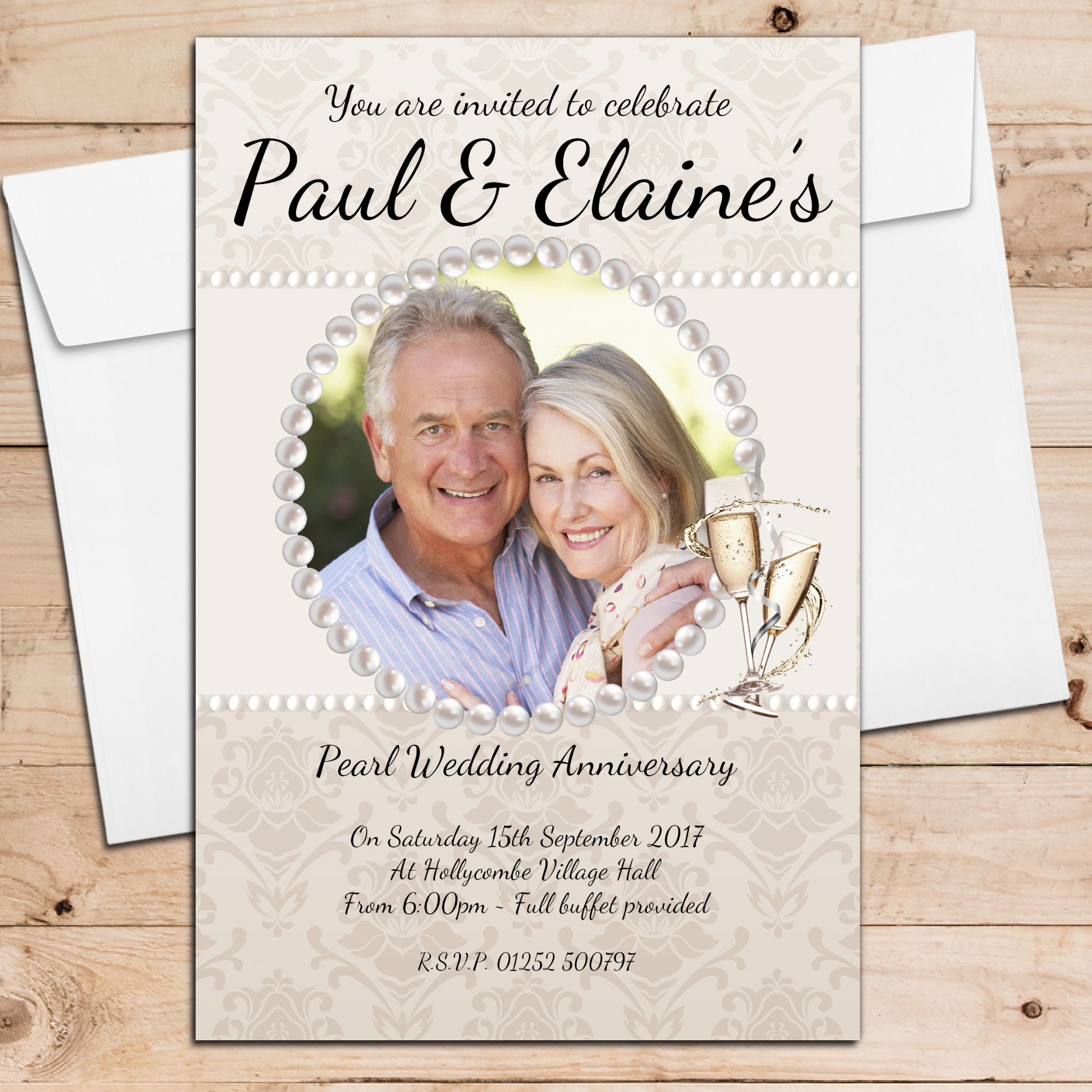 10 Year Wedding Anniversary Invitations: 10 Personalised 30th Pearl Wedding Anniversary Invitations N20