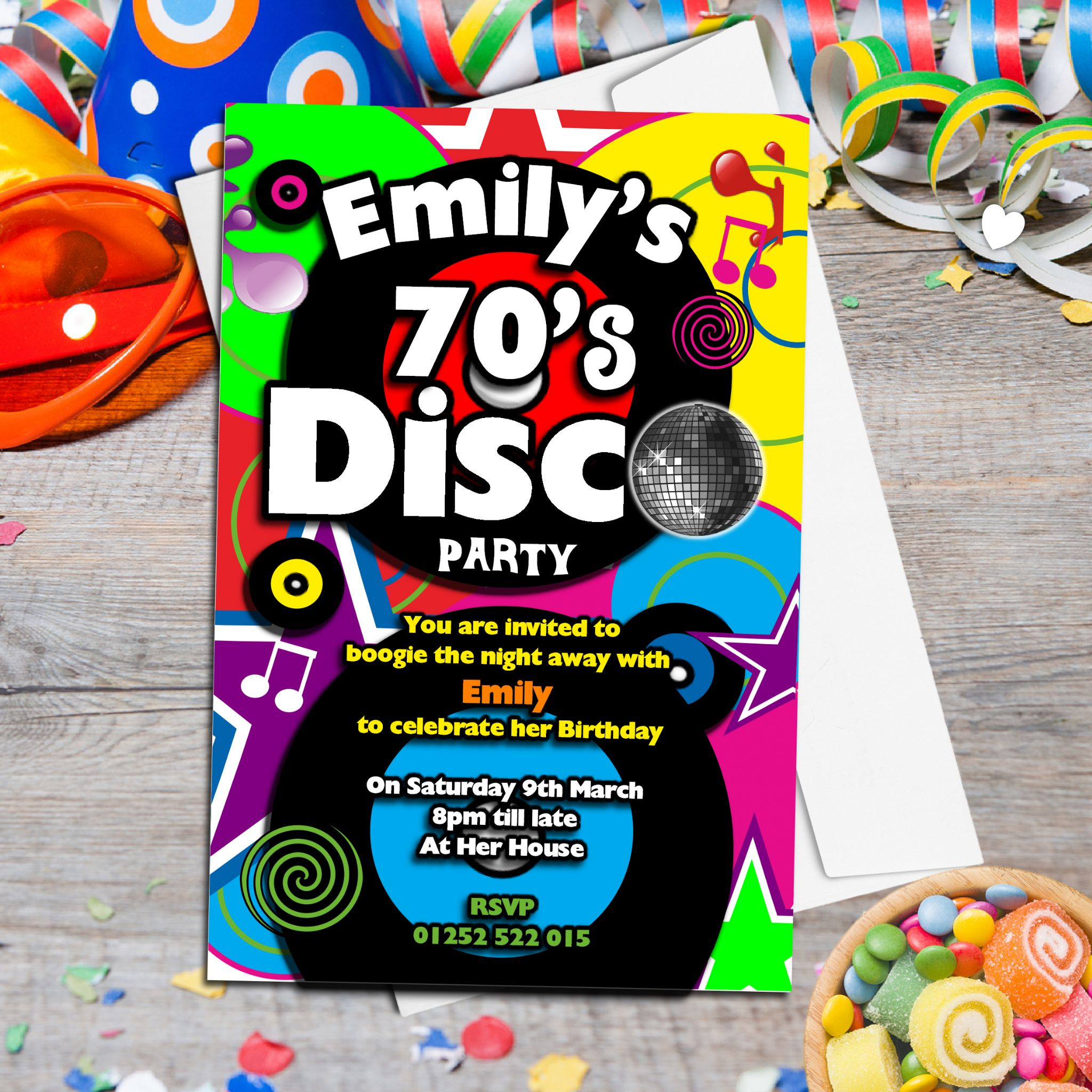 10 Personalised 70s Disco Birthday Party Invitations N130