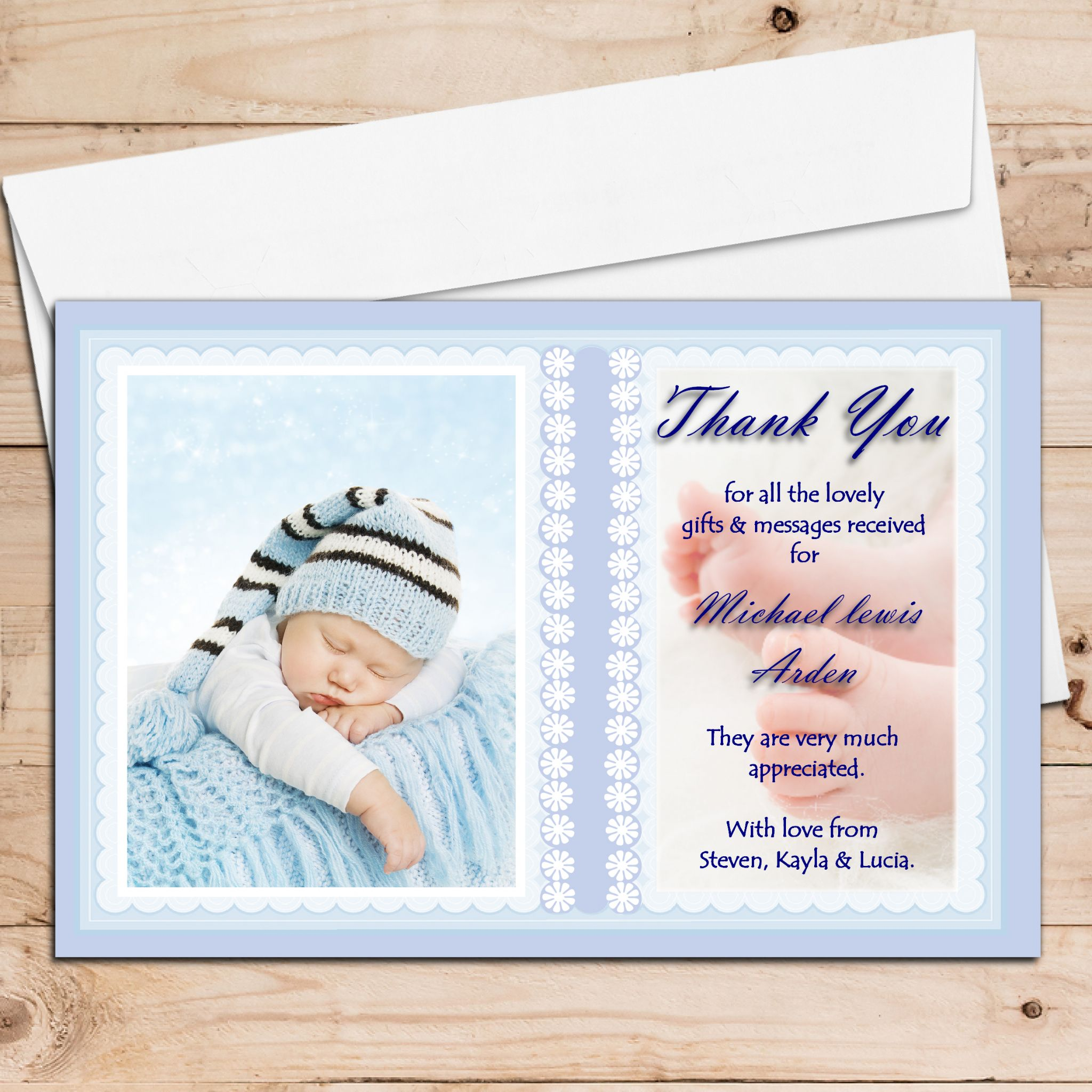 10 Personalised Baby Birth Christening Baptism Thank You Photo Cards