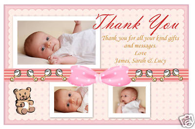Personalised Thank You Cards Baby Birth Thank You Photo Cards