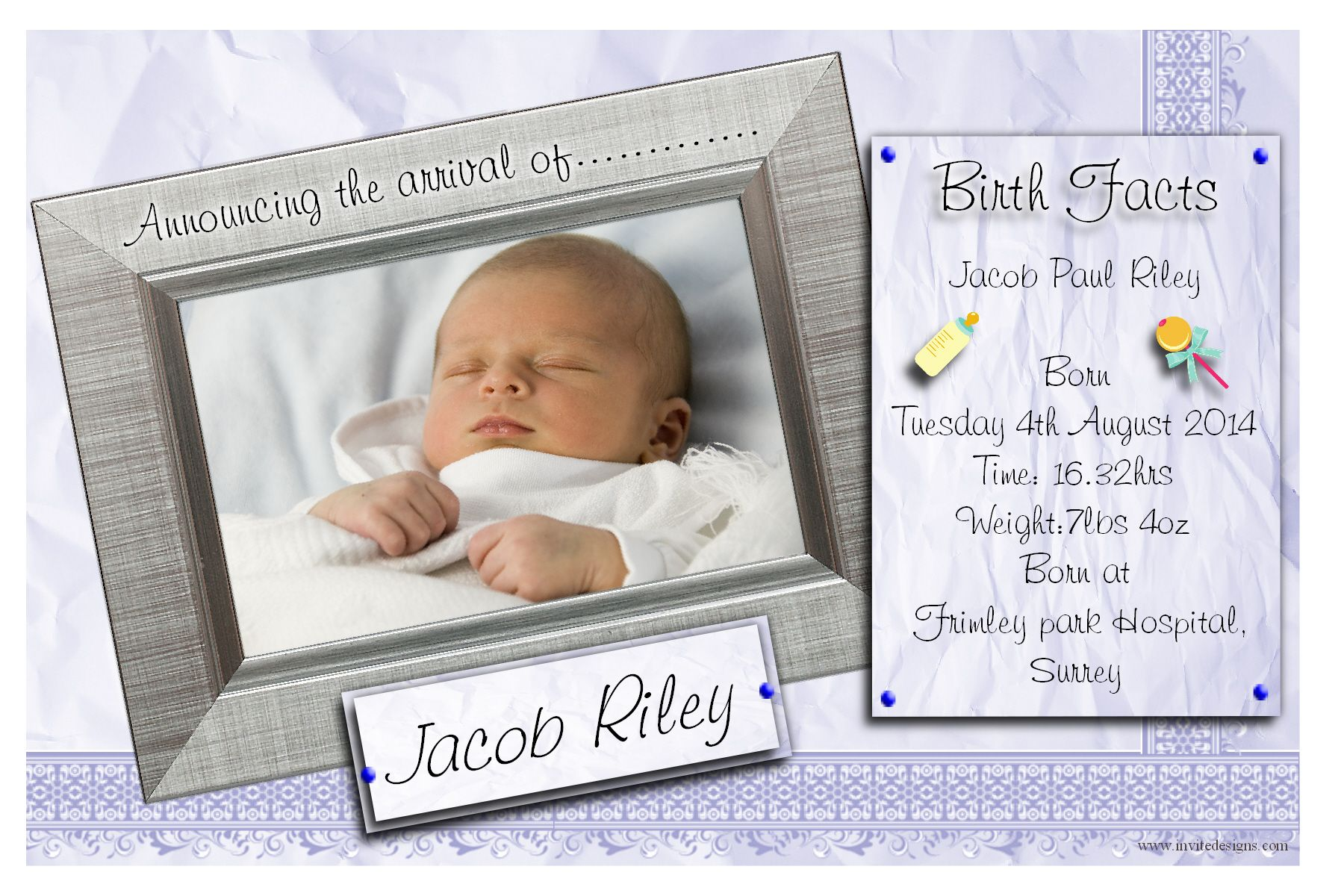 10 Personalised Baby Boy Birth Announcement PHOTO cards N109 – Baby Birth Invitation Card