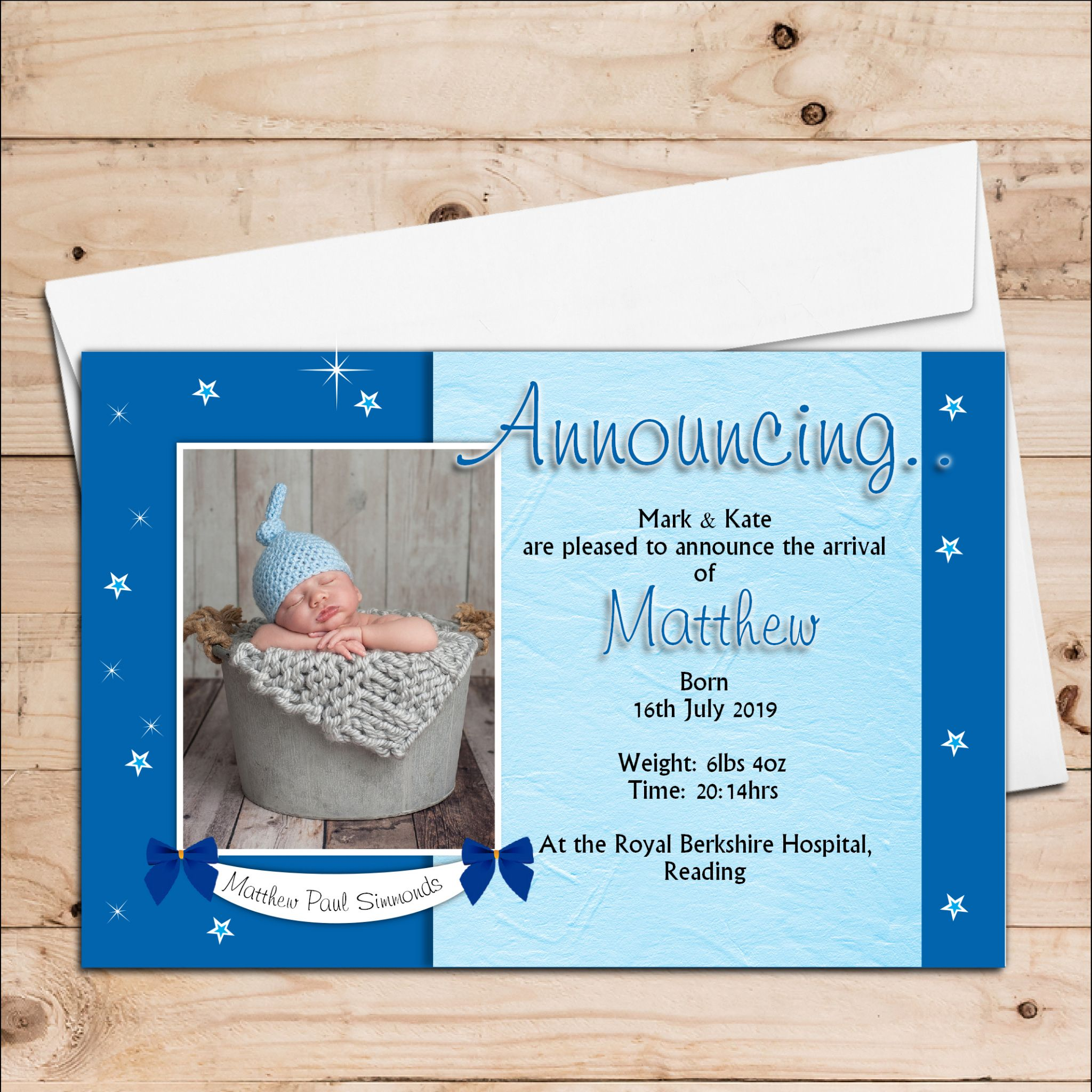 10 Personalised Baby Boy Birth Announcement Thank You PHOTO cards N103 – Personalised Birth Announcements