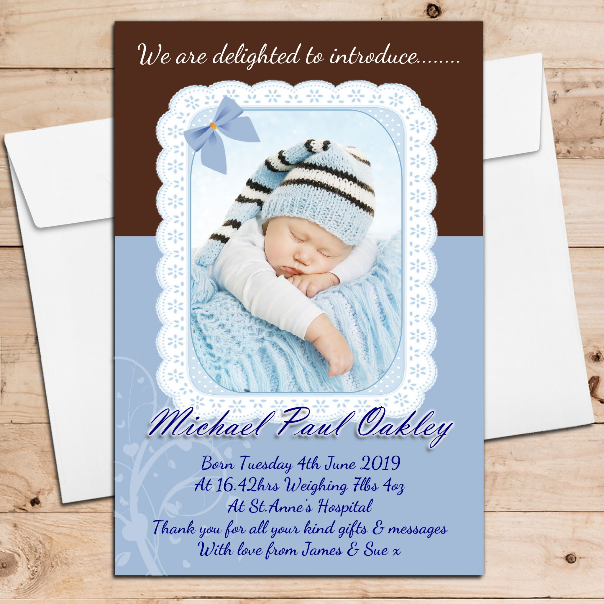 10 Personalised Baby Boy Birth Announcement Thank You PHOTO cards N105 – Boy Birth Announcement