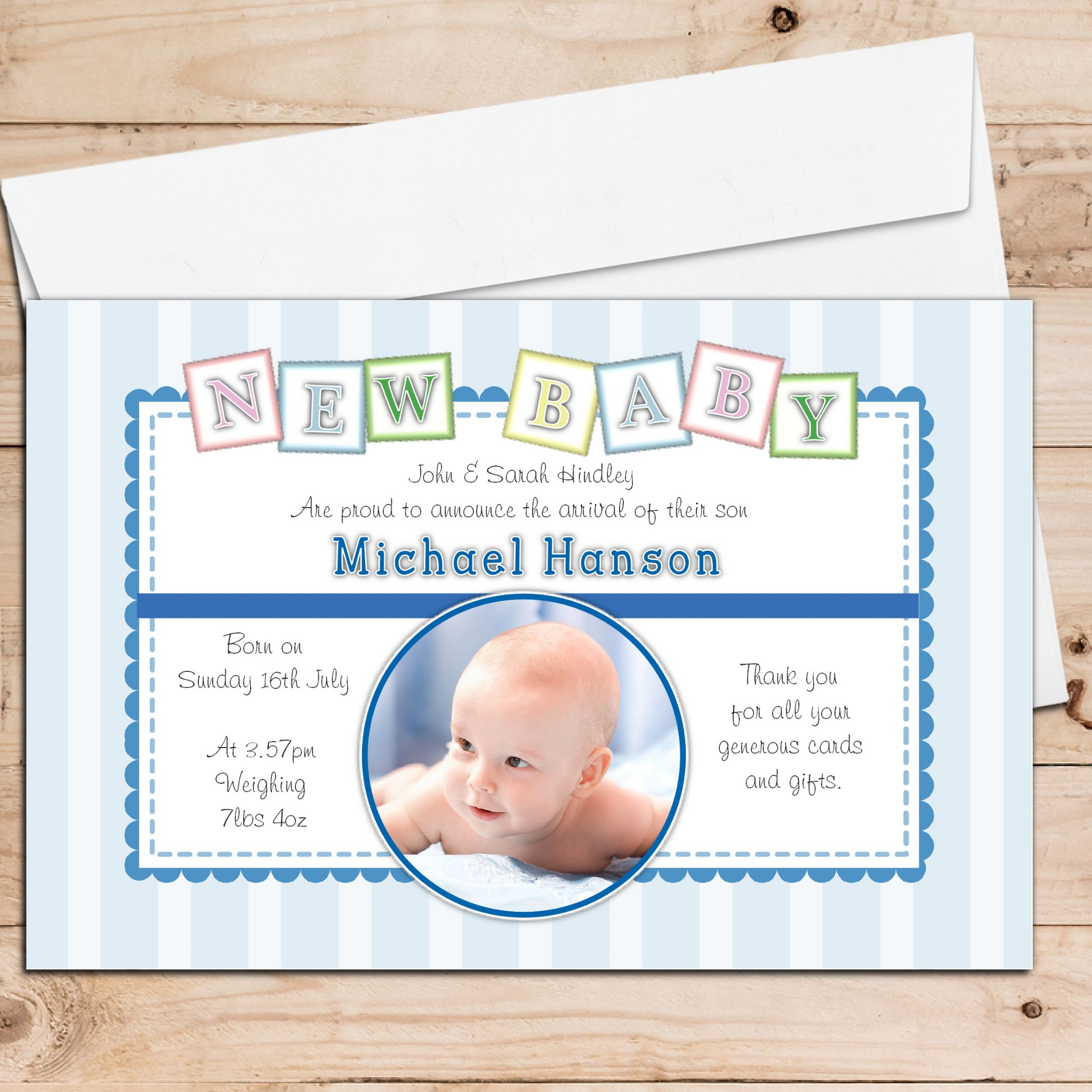 Personalised Birth Announcement Cards – Boy Birth Announcement