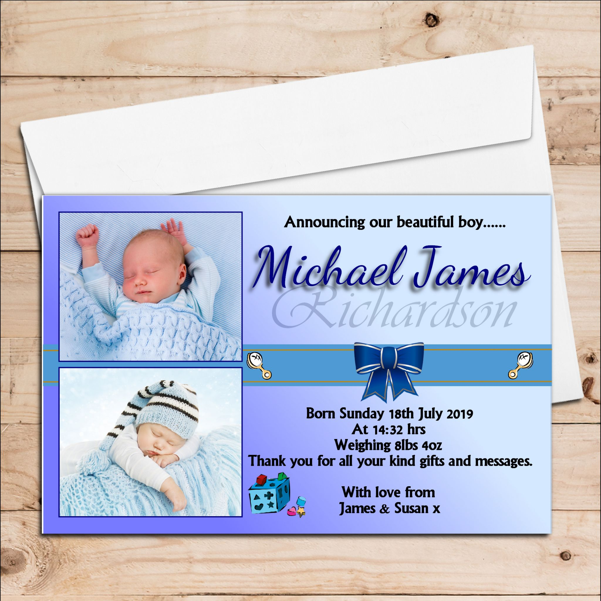 10 personalised baby boy birth announcement thank you