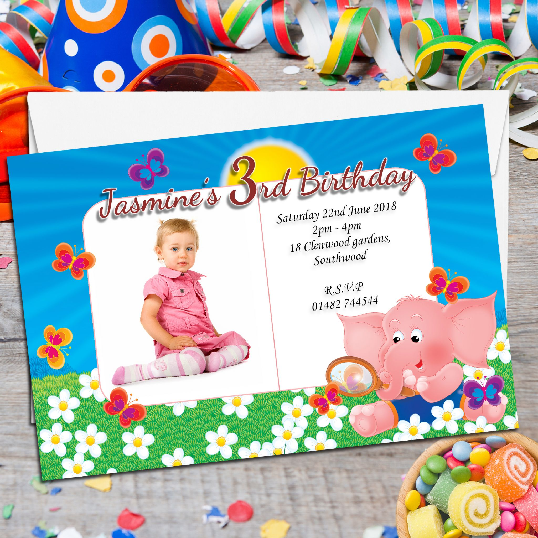 485 10 Personalised Baby Elephant Birthday Party Invitations N21 Variant Attributes