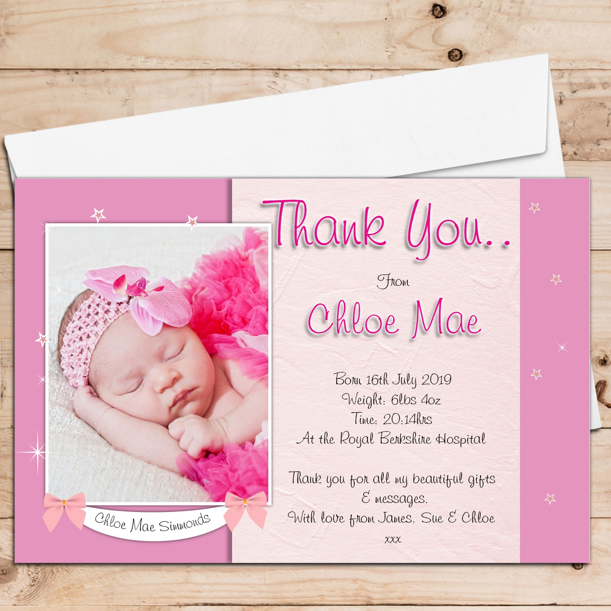 10 Personalised Baby Girl Birth Announcement Thank You PHOTO cards – Personalised Birth Announcements