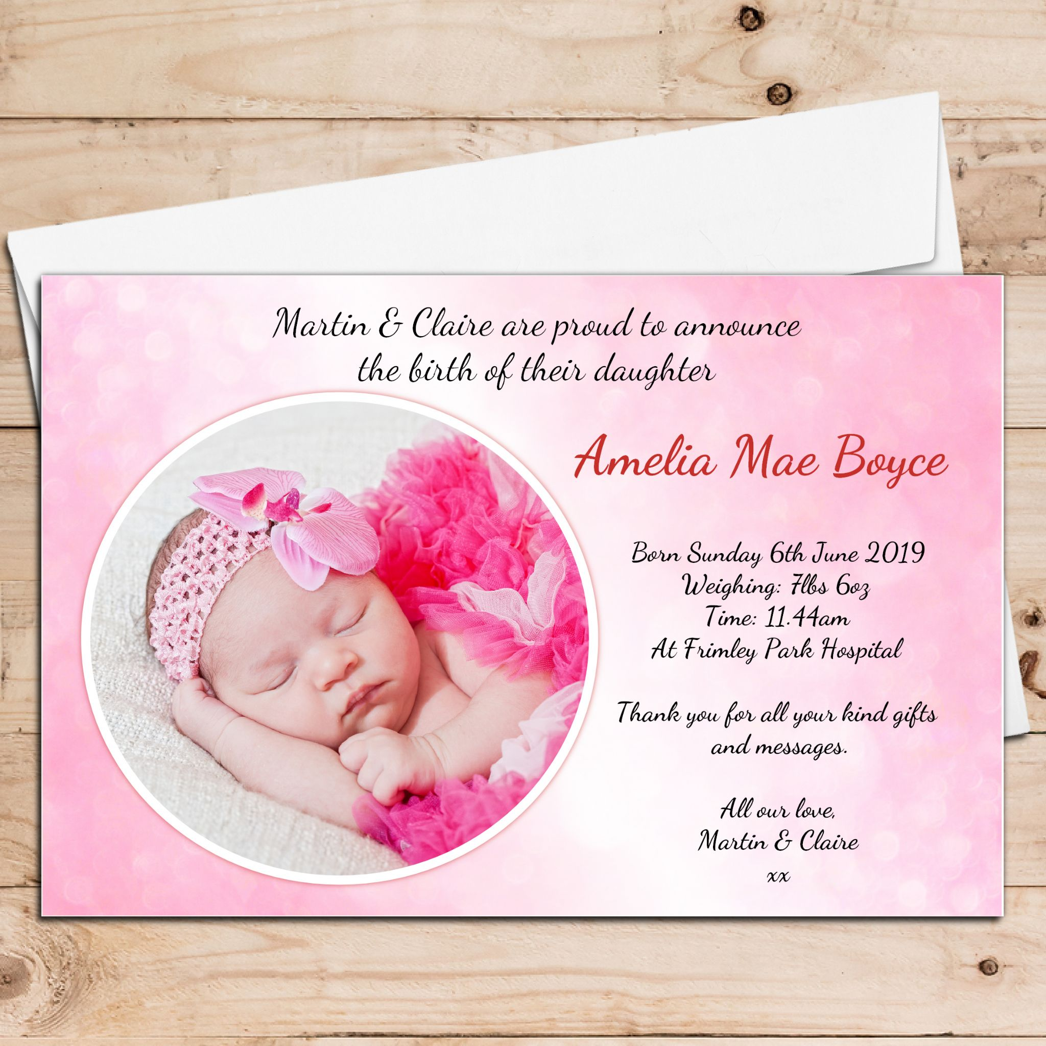 10 Personalised Baby Girl Birth Announcement Thank You Photo Cards N23
