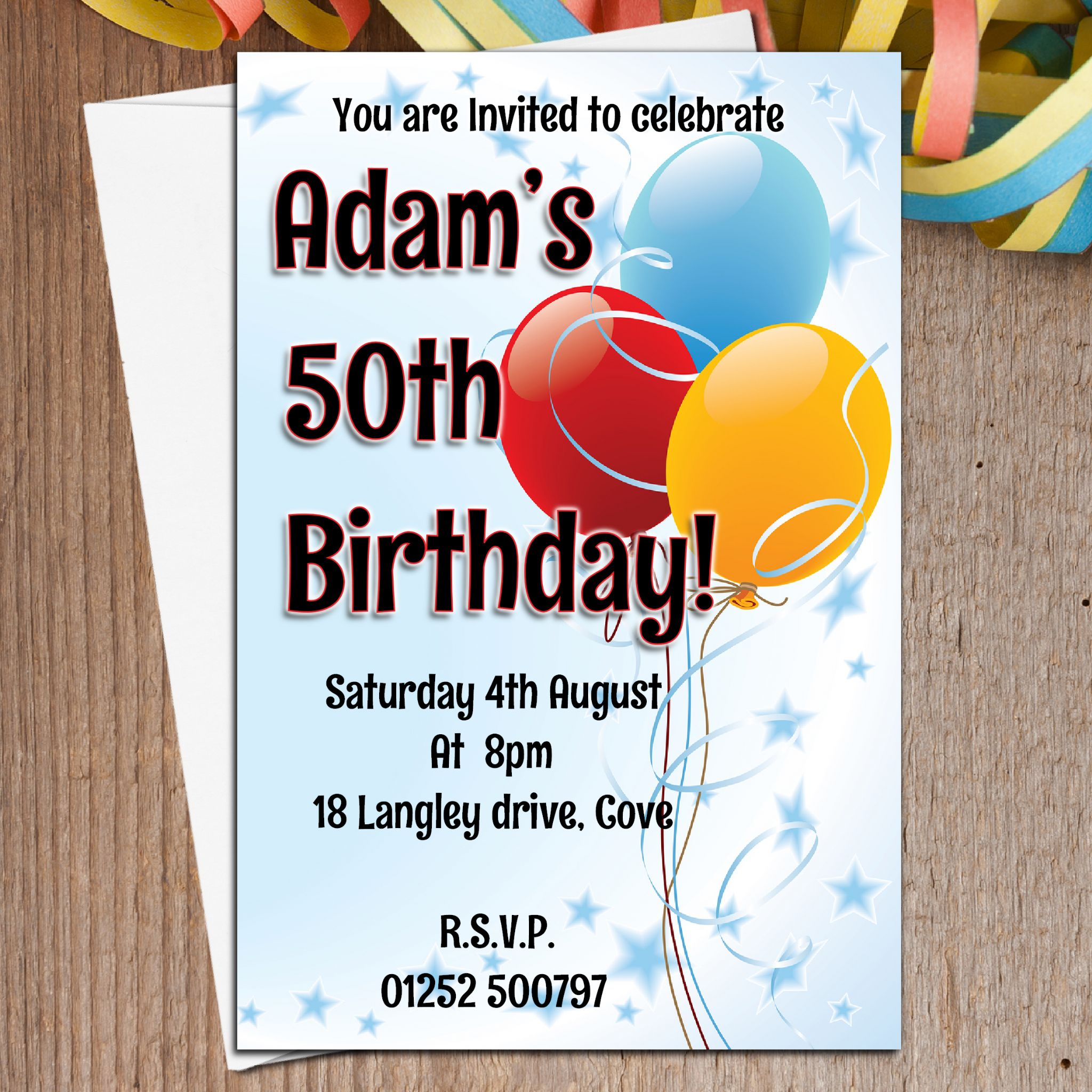 10 Personalised Balloons 18th 21st 30th 40th 50th 60th Birthday Party Invites N2