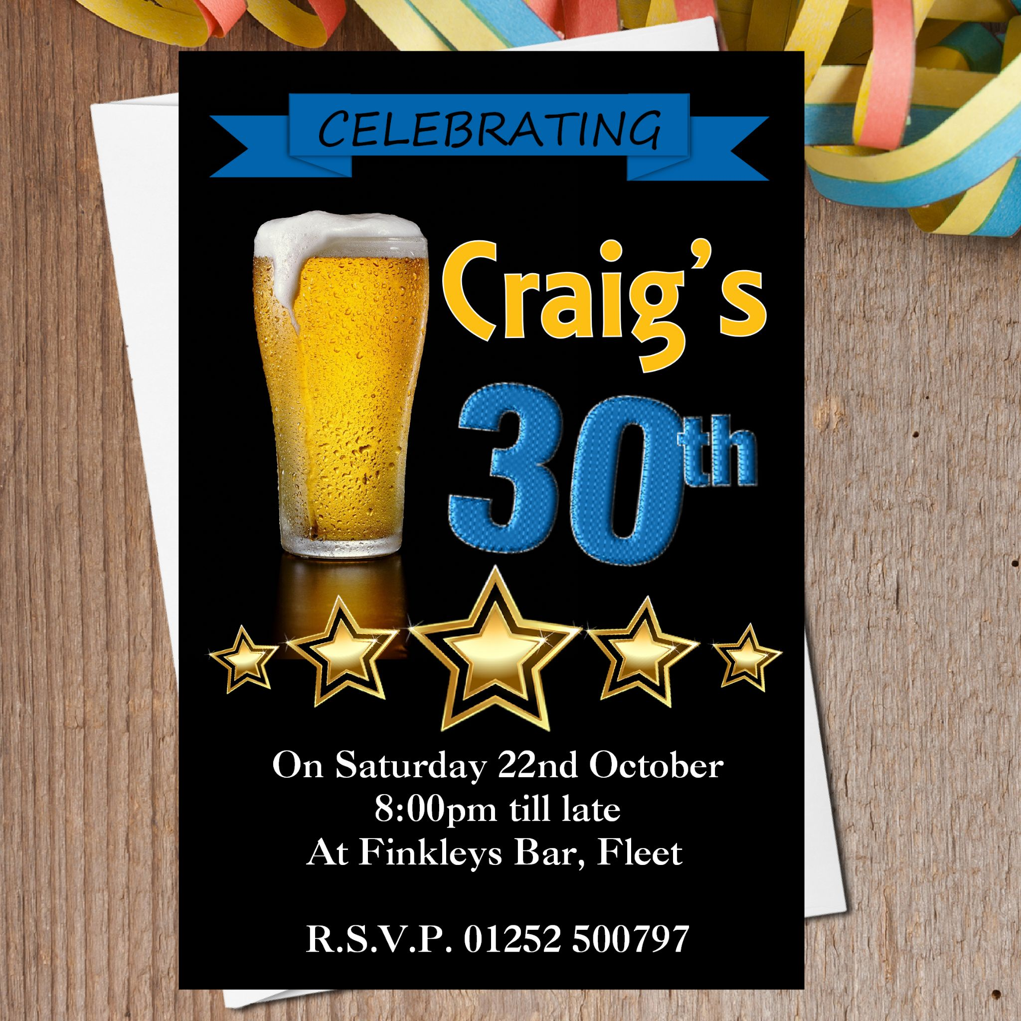 10 personalised beer glass birthday party invitations n199