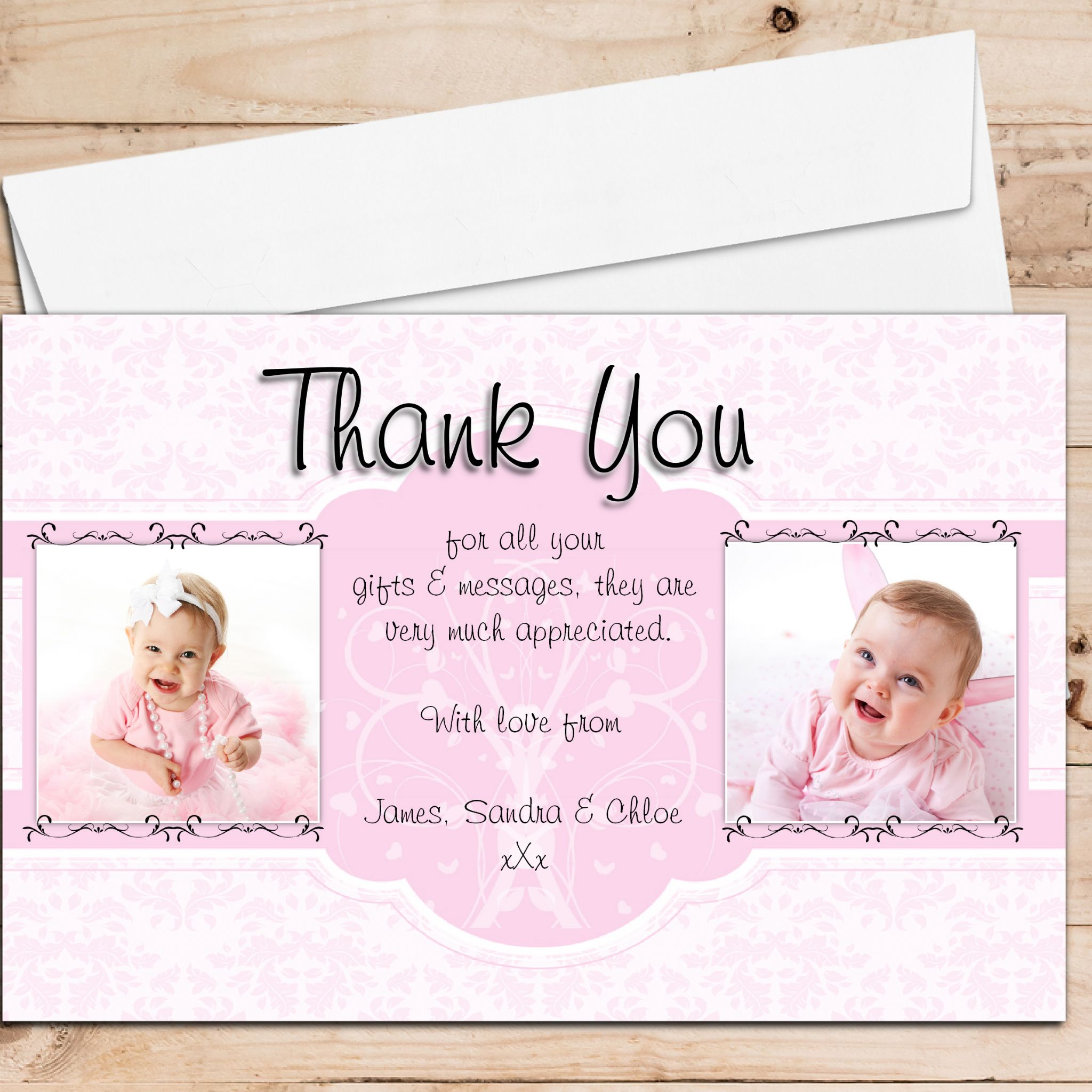 10 Personalised Birth Christening Baptism Thank You Photo Cards N207