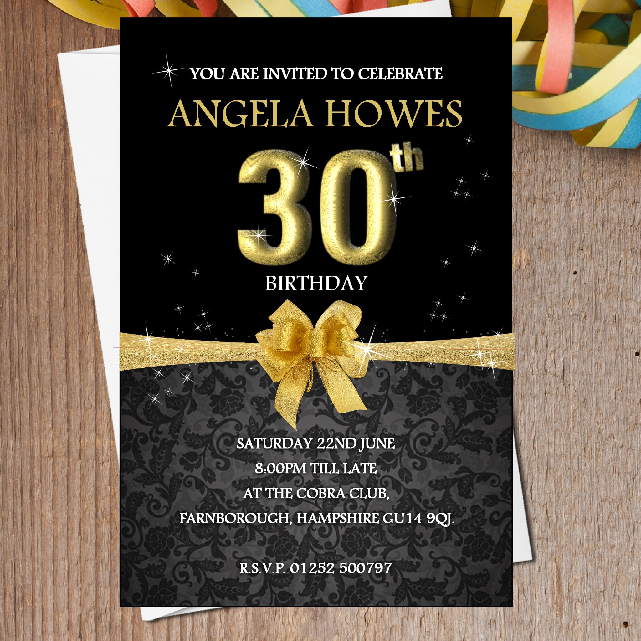 10 Personalised Black & Gold Birthday Party Invitations N193
