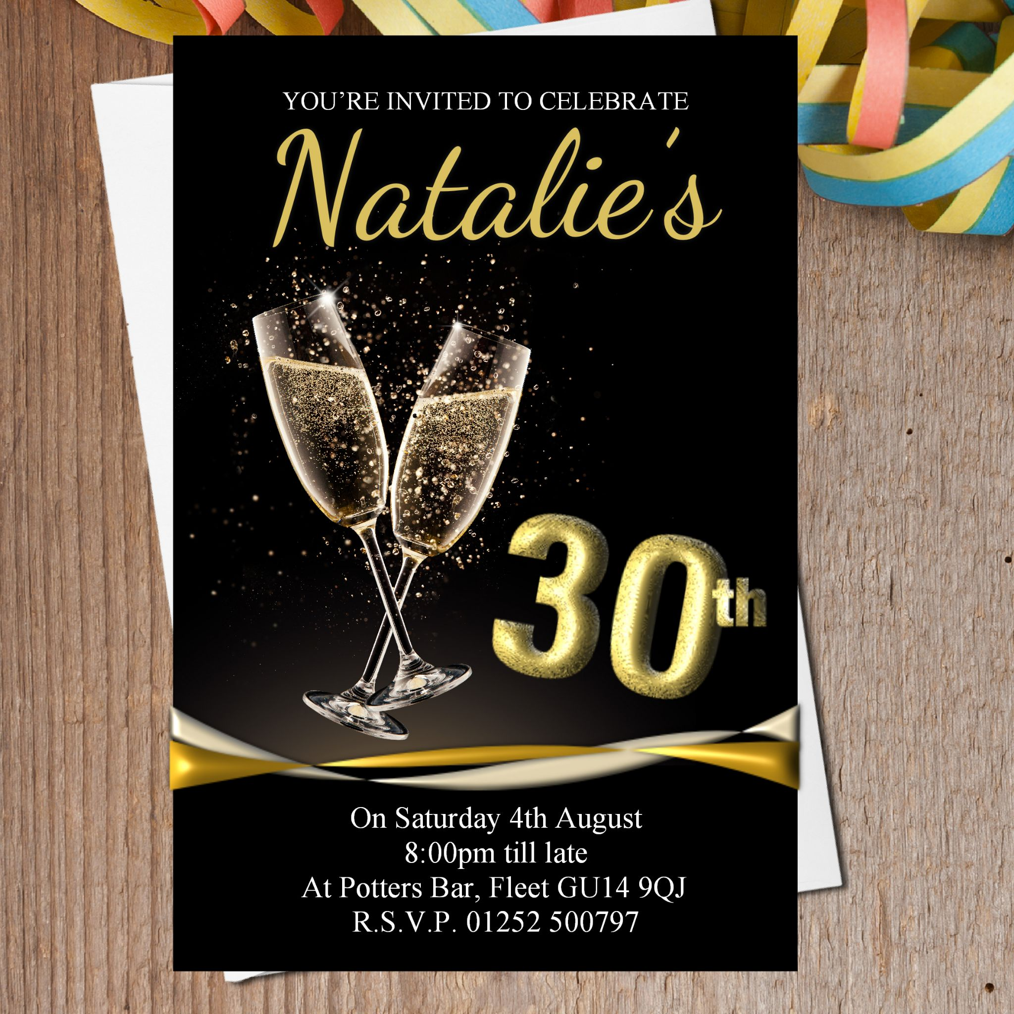10 Personalised Black & Gold Champagne Birthday Party Invitations ...