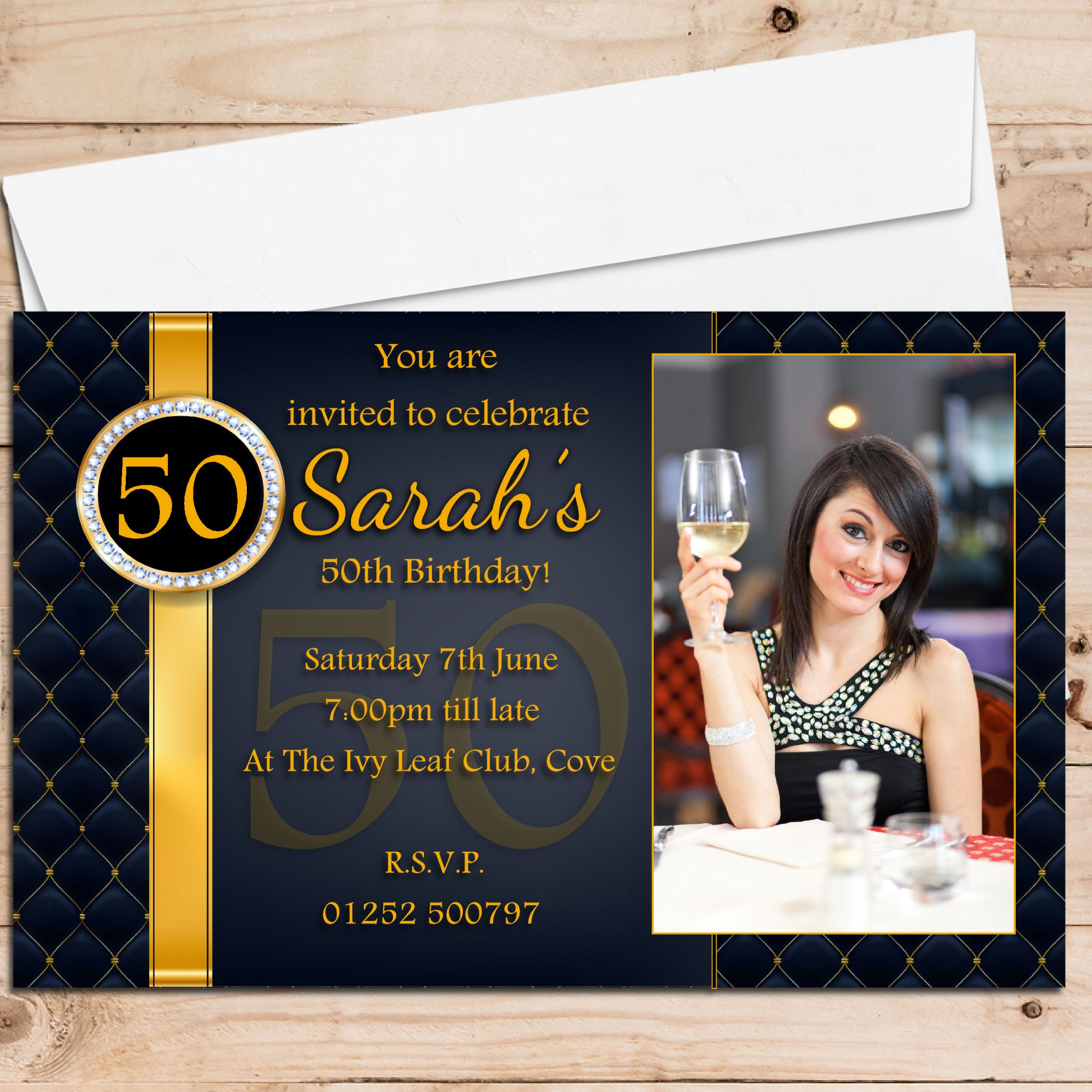10 Personalised Black Gold Diamond Quilt Birthday Party Invitations N216 ANY AGE