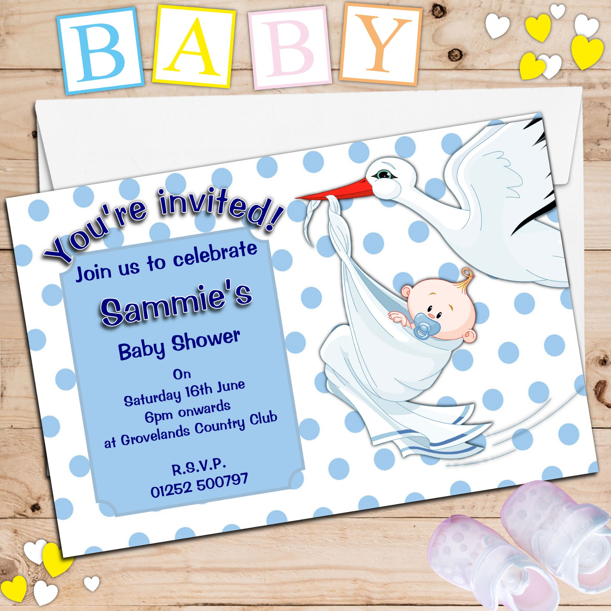 10 Personalised Blue Boy Stork Baby Shower Invitations N15 – Stork Party Invites