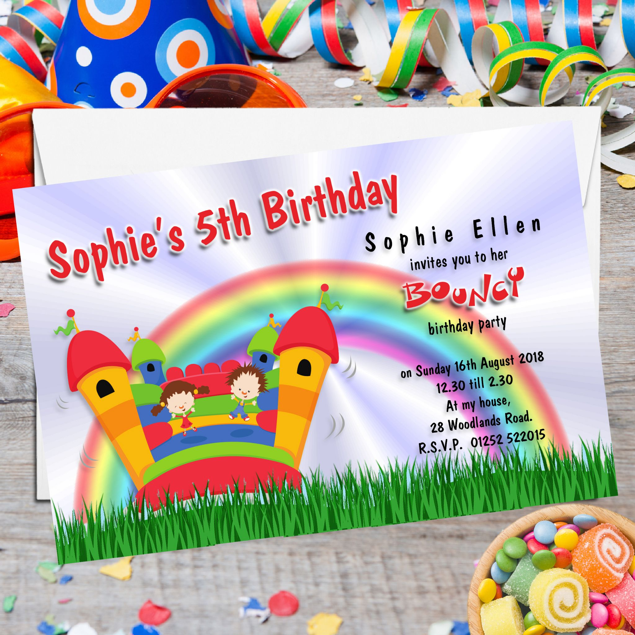 10 personalised bouncy castle birthday party invitations n86 filmwisefo