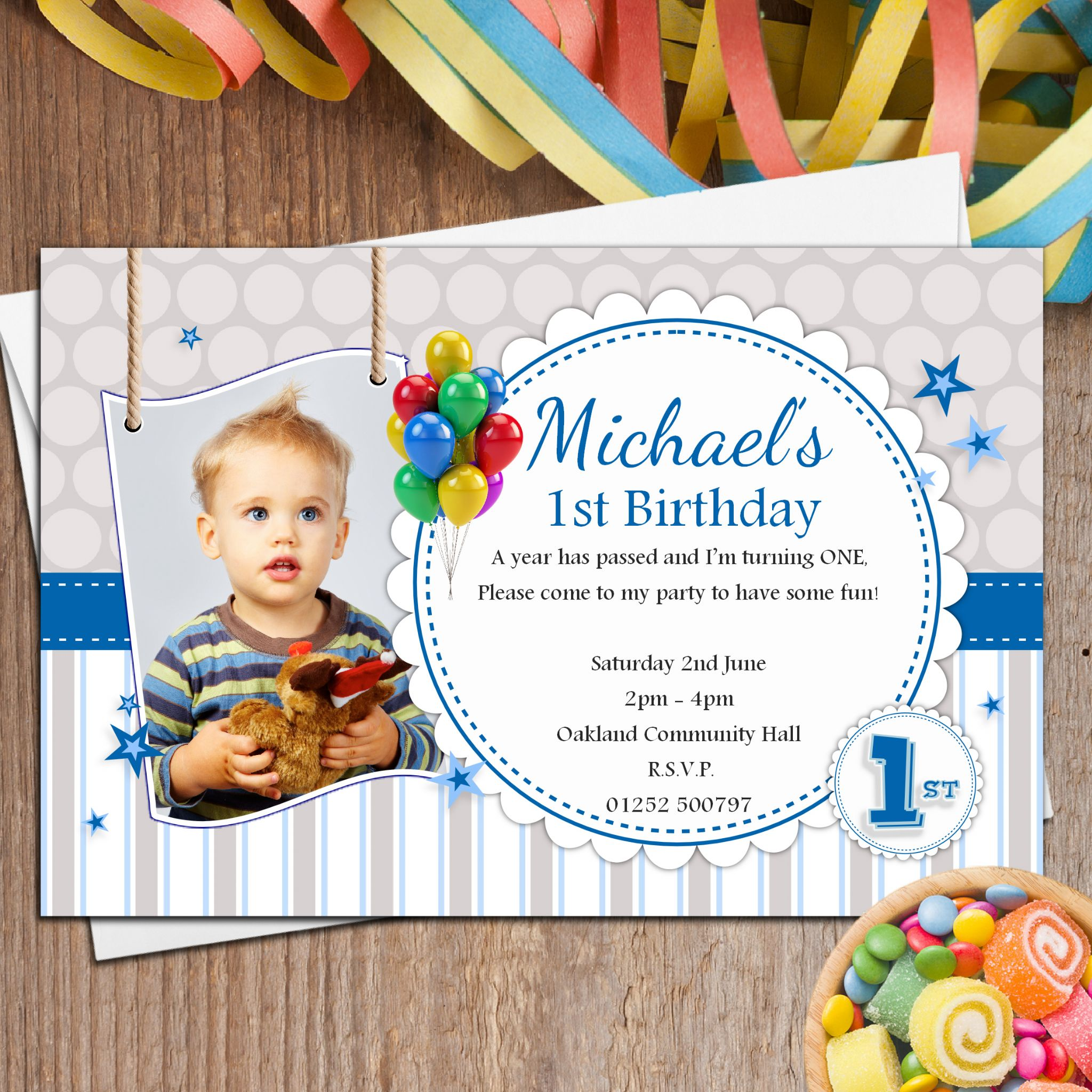 Personalised Boys 1st First Birthday Party PHOTO Invitations N