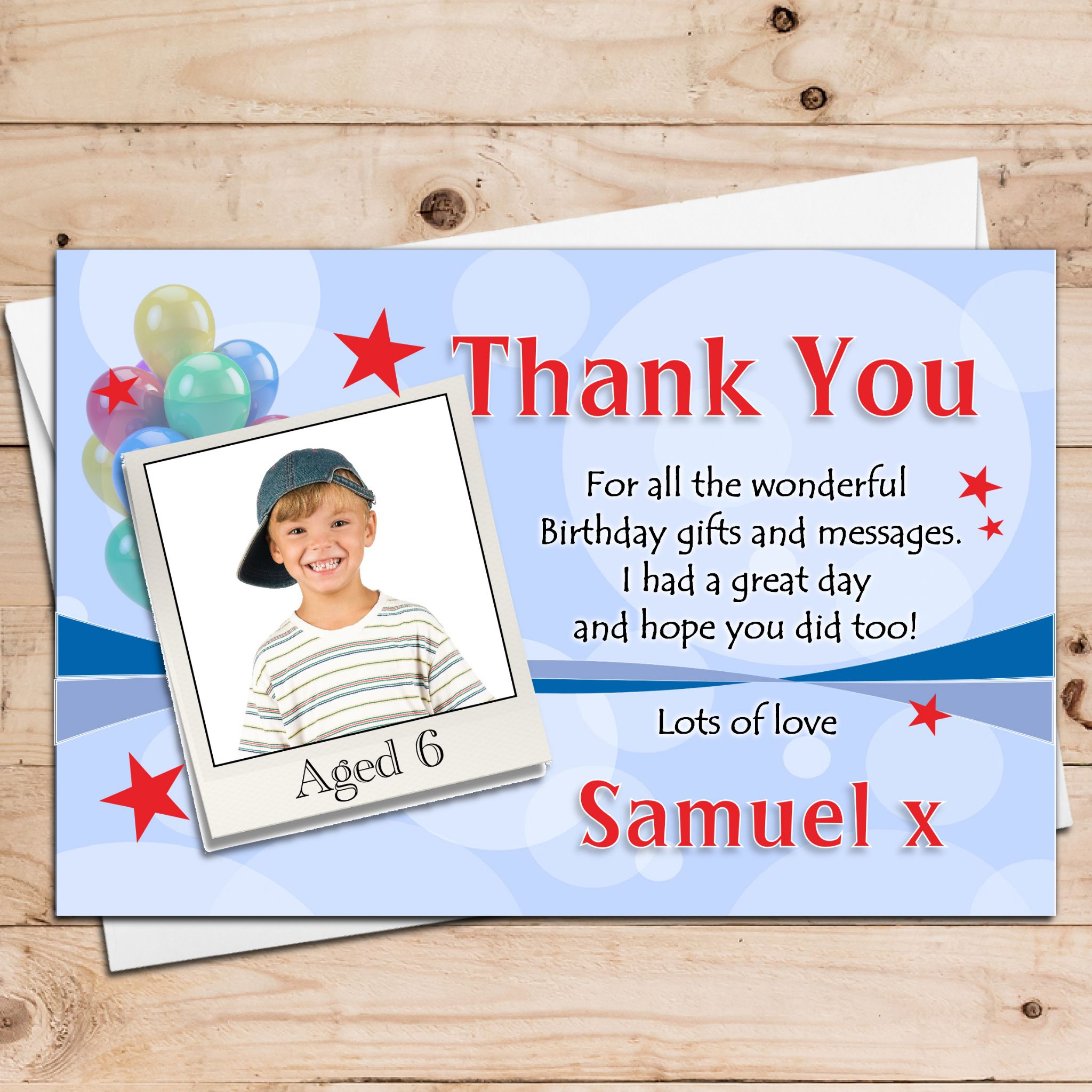 10 Personalised Boys Birthday Party Thankyou Photo Cards N21