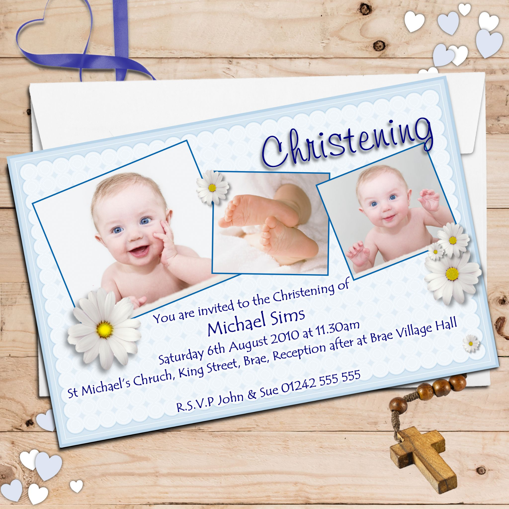 Personalised christening invitations personalised baptism cards 10 personalised boys daisy christening baptism invitations photo invites n49 stopboris Choice Image