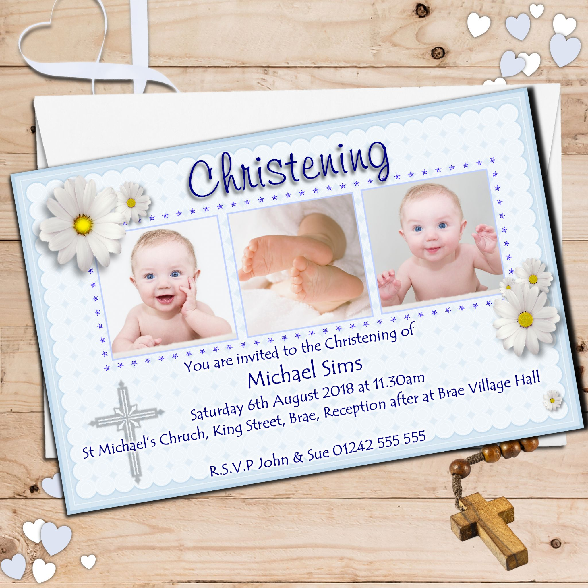 Personalised christening invitations personalised baptism cards 10 personalised boys daisy christening baptism invitations photo invites n50 stopboris Image collections
